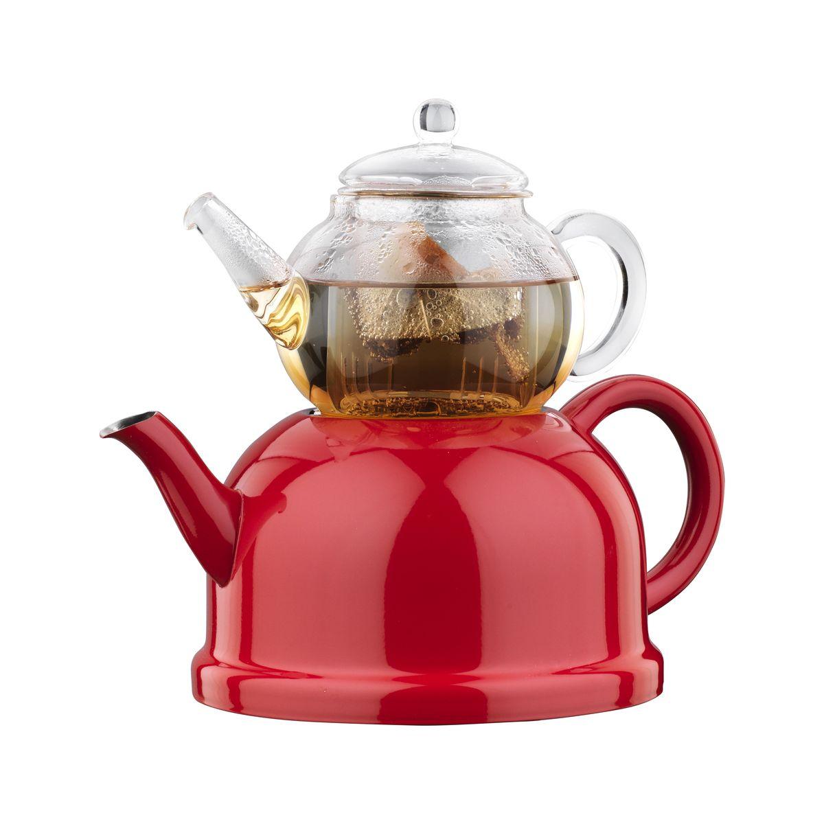 Чайная пара Korkmaz Nosta Midi: чайник, заварник, цвет: прозрачный, красныйA083Чайная пара Korkmaz Nosta Midi состоит из чайника и заварника. Чайник изготовлен из высокопрочной хромо-никелевой нержавеющей стали марки 18/10. Индукционное дно обеспечивает наилучшее распределение и сохранение тепла. Термоустойчивость поверхности чайника к высоким температурам. Заварник изготовлен из экологически-чистого высококачественного боросиликатного стекла. Стеклянный заварник выдерживает температуру от -20°С до +150°С. Чайник и заварник оснащены удобными эргономичными ручками и крышками. Современный, стильный дизайн и округлый силуэт чайной пары Korkmaz Nosta Midi придают посуде эстетичный вид. Внешняя поверхность чайника имеет цветное покрытие, а внутренняя поверхность - матовая. Отполированная до блеска поверхность длительное время сохраняет яркость. Для компактного хранения заварник ставится сверху на чайник. Чайник можно использовать на газовых, электрических, стеклокерамических, галогенных, индукционных плитах. Можно...