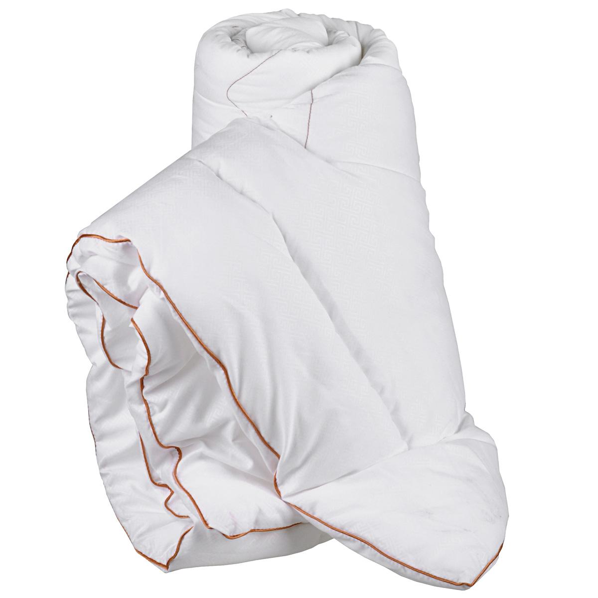 Одеяло Primavelle Afina, наполнитель: лебяжий пух, 172 см х 205 см122918101-29Одеяло Primavelle Afina - стильная и комфортная постельная принадлежность, которая подарит уют и позволит окунуться в здоровый и спокойный сон. Чехол одеяла выполнен из однотонной бархатистой ткани биософт с тисненым рисунком, украшен декоративной ниточной стежкой греческие узоры и атласным кантом шоколадного цвета. Чехол также имеет специальную обработку Peach-эффект, благодаря которой ткань становится нежной и приобретает бархатистую фактуру. Внутри - наполнитель из искусственного лебяжьего пуха, который является аналогом натурального пуха и представляет собой сверхтонкое волокно нового поколения. Благодаря этому одеяло очень мягкое и легкое, не накапливает пыль и запахи. Важным преимуществом является гипоаллергенность наполнителя, поэтому одеяло отлично подходит как взрослым, так и детям. Легкое и объемное, оно имеет среднюю степень теплоты и отличную терморегуляцию: под ним будет тепло зимой и не жарко летом. Одеяло просто в уходе, подходит для машинной...
