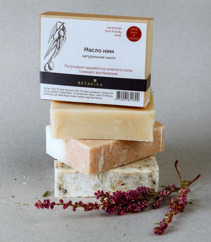 Botanika Мыло натуральное Ним, 100 гMP59.4DНатуральное мыло ручной работы с маслом Нима регулирует выработку кожного сала, снимает воспаления. Товар сертифицирован.