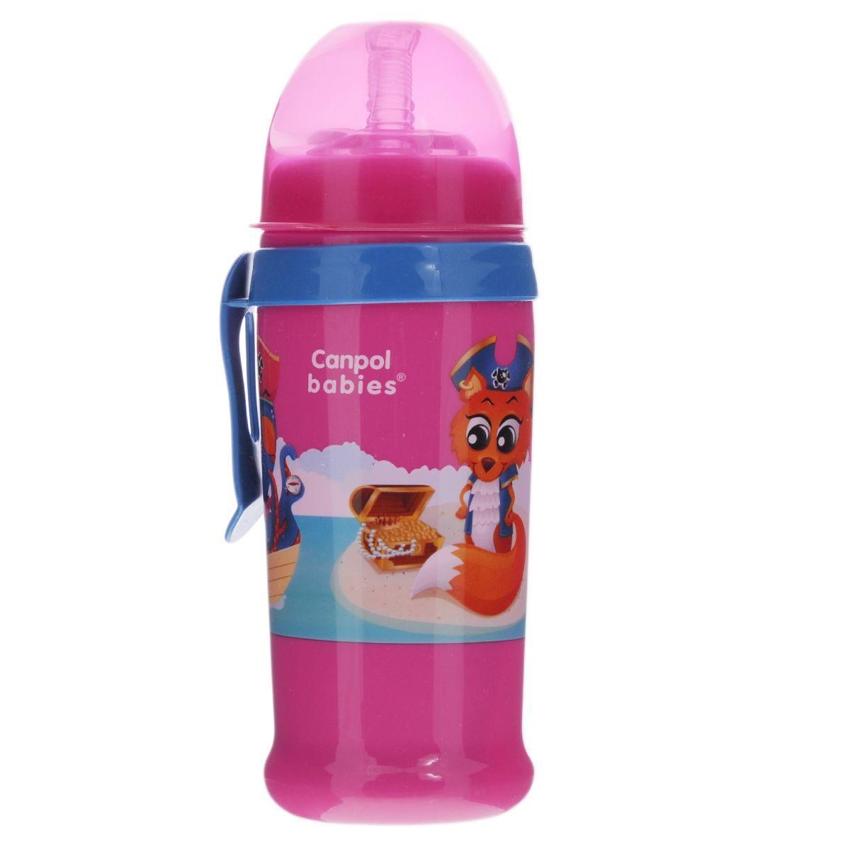Canpol Babies Поильник с силиконовым носиком-трубочкой цвет розовый 350 мл
