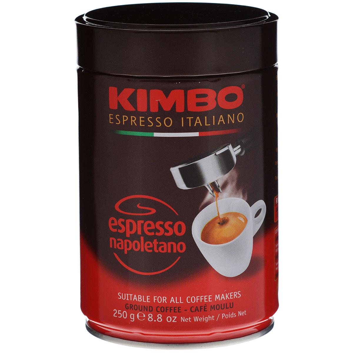 Kimbo Espresso Napoletano кофе молотый, 250 г (ж/б)8002200302412Натуральный жареный молотый кофе Kimbo Espresso Napoletano с интенсивным вкусом и богатым ароматом. Традиционная неаполитанская обжарка характеризуется густой пенкой. Идеально подходит для любителей крепкого эспрессо. Состав смеси: 90% арабика, 10% робуста.