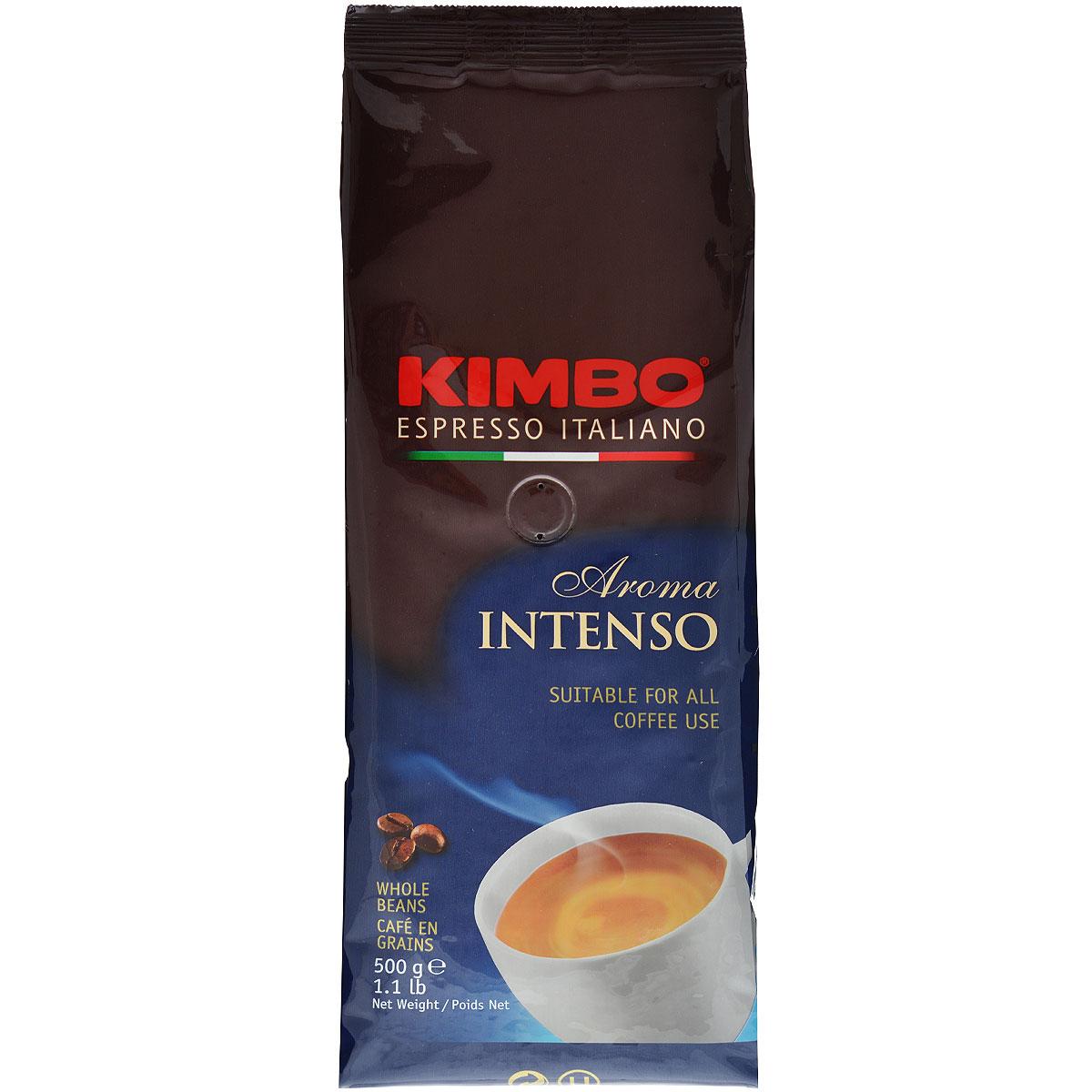 Kimbo Aroma Intenso кофе в зернах, 500 г101246Натуральный жареный кофе в зернах Kimbo Aroma Intenso. Крепкий, с шоколадным послевкусием и ярким ароматом. Изысканная смесь арабики и робусты придаёт «Кимбо Арома Интенсо» насыщенный вкус. Состав смеси: 80% арабика, 20% робуста.