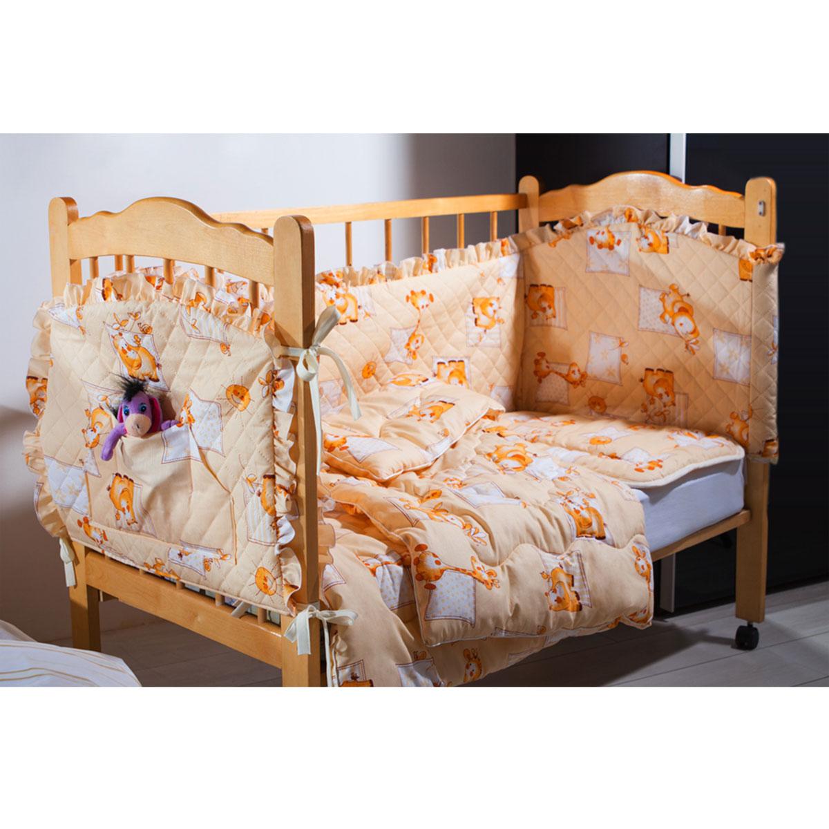 Комплект КРОХА-2(бортик, одеяло, подушка,кармашек) (бежевый)S03301004Комплект в кроватку Кроха (4 изделия в комплекте) с наполнителем Экофайбер™ в чехле из набивной хлопковой ткани, отделка-рюша, бортики с безниточной стежкой Ультрастеп™, одеяла с декоративной ниточной стежкой, (детская подушка - 40х60, легкое одеяло 110х140, кармашек 60х45, бортик 360х45), цвета: бежевый, розовый, голубой (упаковка -сумка ПВХ)