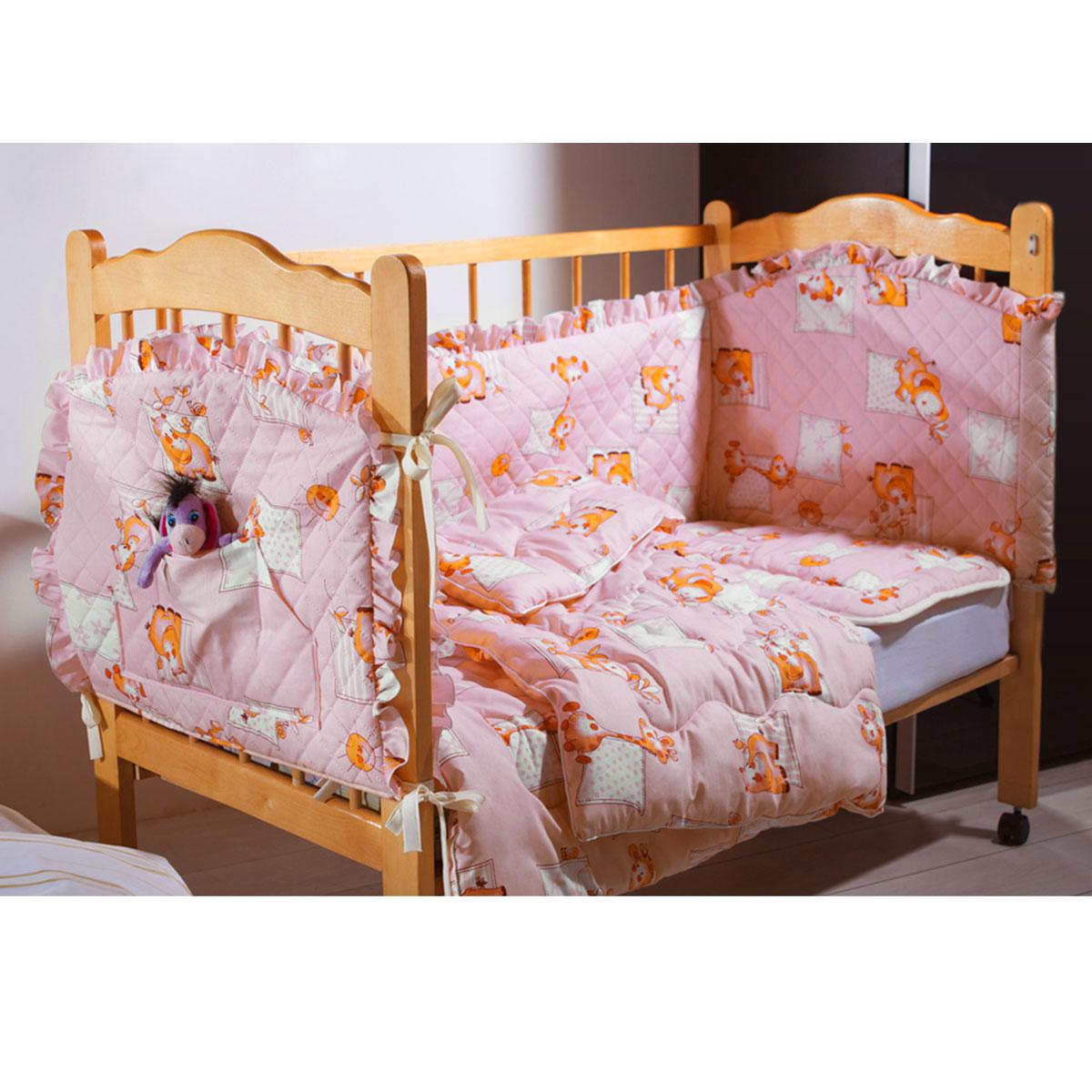 Комплект в кроватку Primavelle Кроха, цвет: розовый, 5 предметов. 601104005-2610503Комплект в кроватку Primavelle Кроха прекрасно подойдет для кроватки вашего малыша, добавит комнате уюта и согреет в прохладные дни. В качестве материала верха использованы 70% хлопка и 30% полиэстера. Мягкая ткань не раздражает чувствительную и нежную кожу ребенка и хорошо вентилируется. Подушка и одеяло наполнены гипоаллергенным экофайбером, который не впитывает запах и пыль. В комплекте - удобный карман на кроватку для всех необходимых вещей.Очень важно, чтобы ваш малыш хорошо спал - это залог его здоровья, а значит вашего спокойствия. Комплект Primavelle Кроха идеально подойдет для кроватки вашего малыша. На нем ваш кроха будет спать здоровым и крепким сном.Комплектация:- бортик (150 см х 35 см); - простыня (120 см х 180 см);- подушка (40 см х 60 см);- одеяло (110 см х 140 см);- кармашек (60 см х 45 см).
