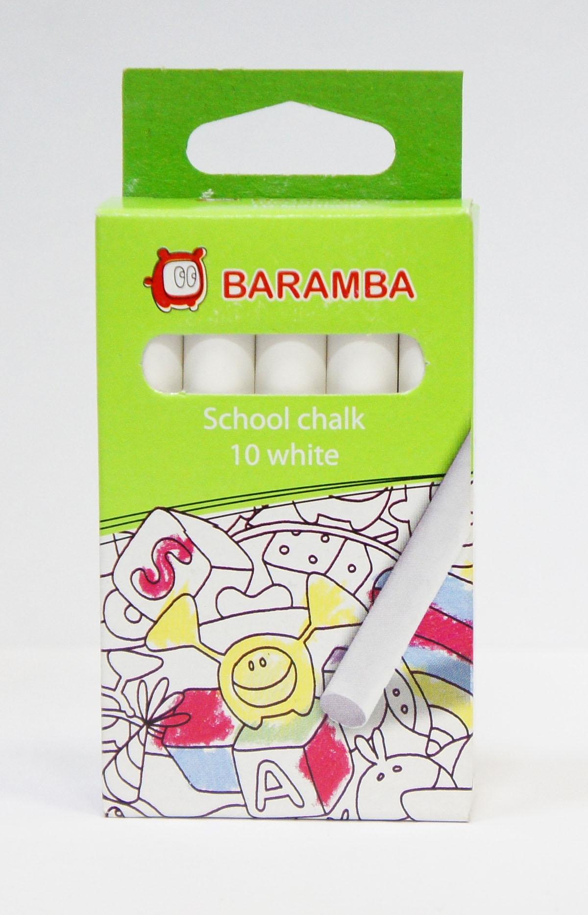 Мелки белые Baramba School chalk, 10 штPP-220Белые мелки Baramba School chalk с круглым корпусом предназначены для письма и рисования на школьных досках, асфальте, ватмане, дереве и бетоне. Состоят на 98% из карбоната кальция. Удобны в использовании, не крошатся, не царапают доску, не пачкают руки, яркие насыщенные цвета в наборах цветного мела.Рисование мелками интересное и увлекательное занятие. Порадуйте своего ребенка таким замечательным подарком!Не рекомендуется детям до 3-х лет.