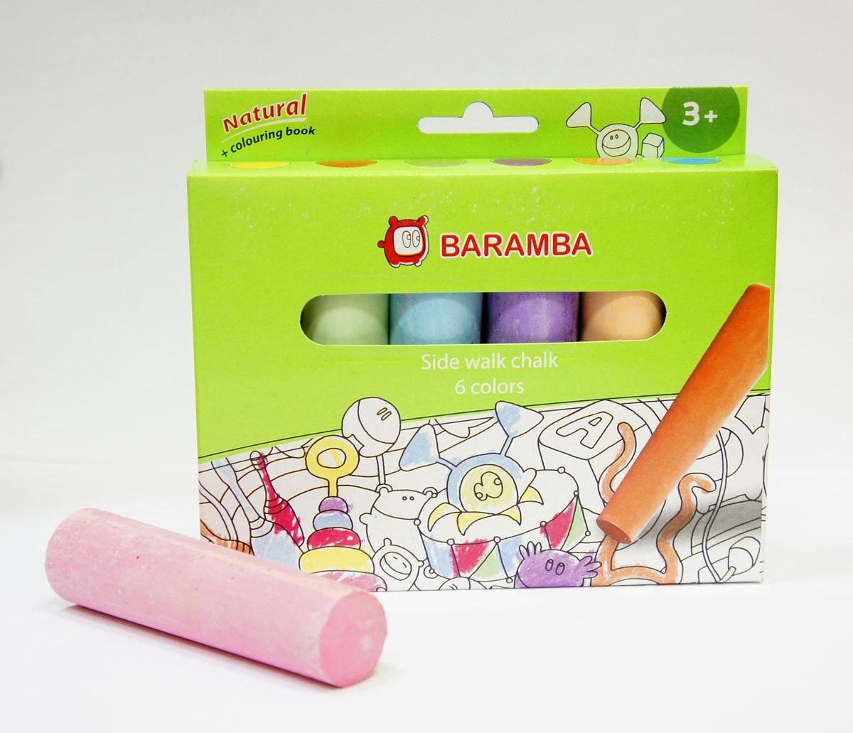Мел для асфальта Baramba, 6 цветовB00060Мел для асфальта Baramba включает в себя 6 мелков ярких цветов. Мелки предназначены для рисования на асфальте. Благодаря крупному размеру и форме, мелки удобно держать в руке. Мел удобен в использовании, не крошится, не царапает доску, не пачкает руки. Рисование разноцветными мелками способствует развитию творческих способностей малыша, воображения и мелкой моторики рук. Не рекомендуется детям до 3-х лет.