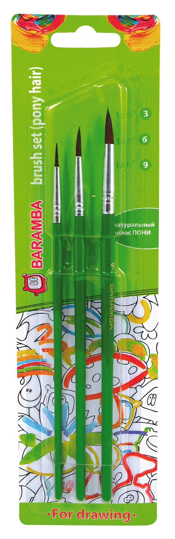 Baramba Набор кистей из волоса пони №3, 6, 9 (3шт)PP-220Кисти из набора Baramba идеально подойдут для детского творчества, художественных и декоративно-оформительских работ. Кисти из натурального ворса пони разных размеровпредназначены для работы с акварелью, гуашью, тушью. Конусообразная форма пучка позволяет прорисовывать мелкие детали и выполнять заливку фона. В набор входят круглые кисти №3, 6 и 9. Деревянные ручки оснащены алюминиевыми втулками с тройной обжимкой.