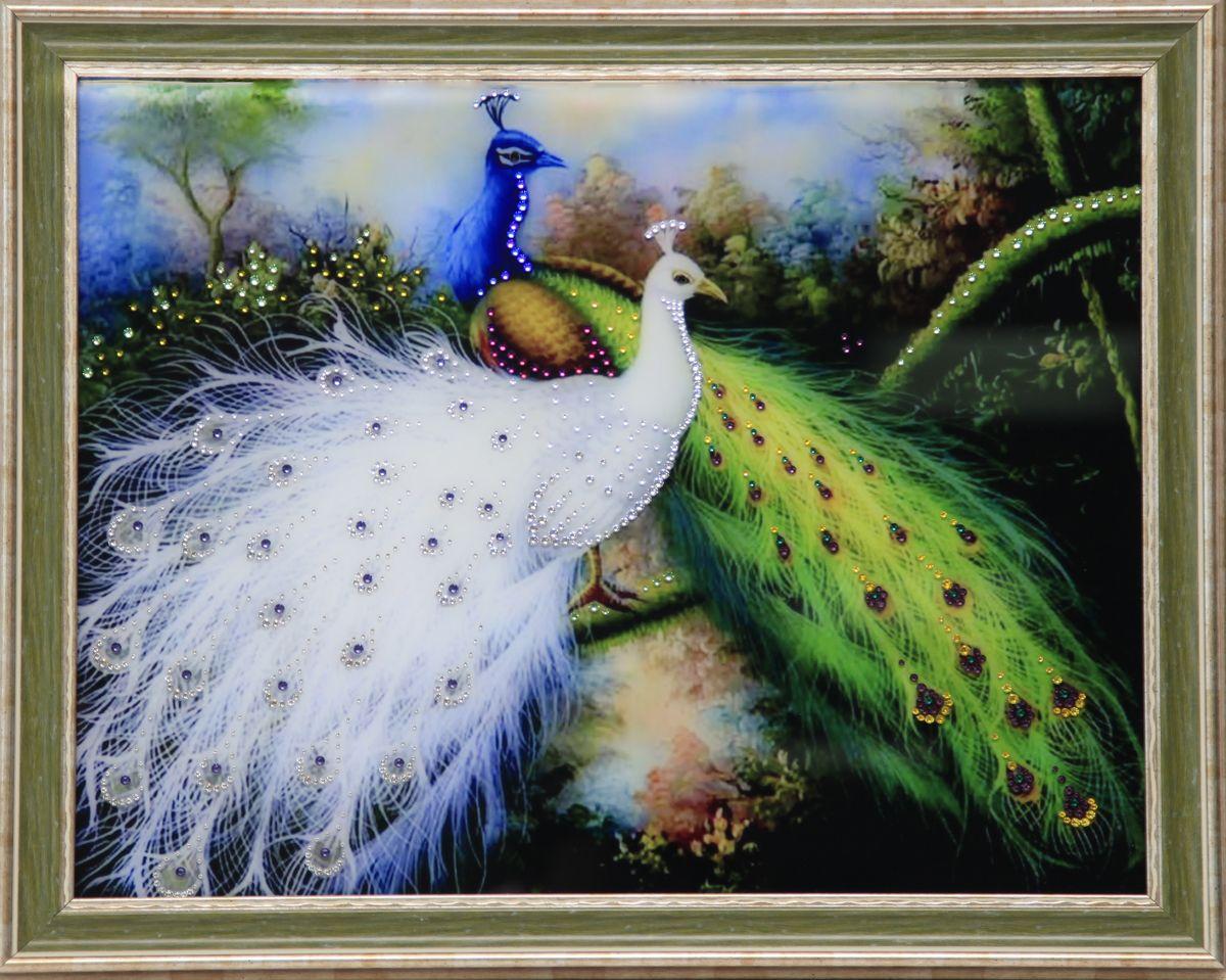 1621 Картина Сваровски Королевские птицы1621стекло, хрусталь, алюминий. 56,7х46,7