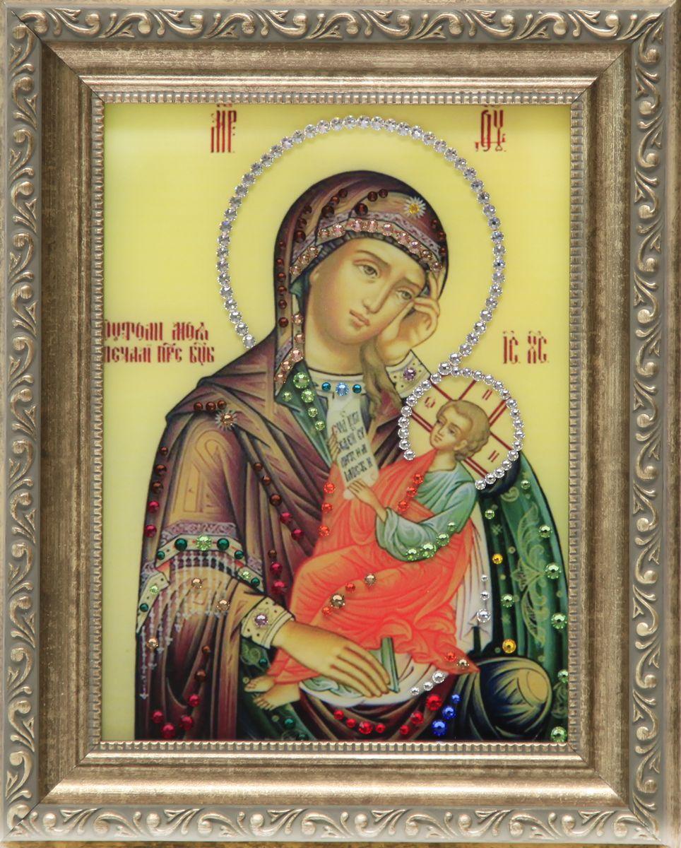1616 Икона Утоли мои печали1616стекло, хрусталь, алюминий. 20,3х25,3