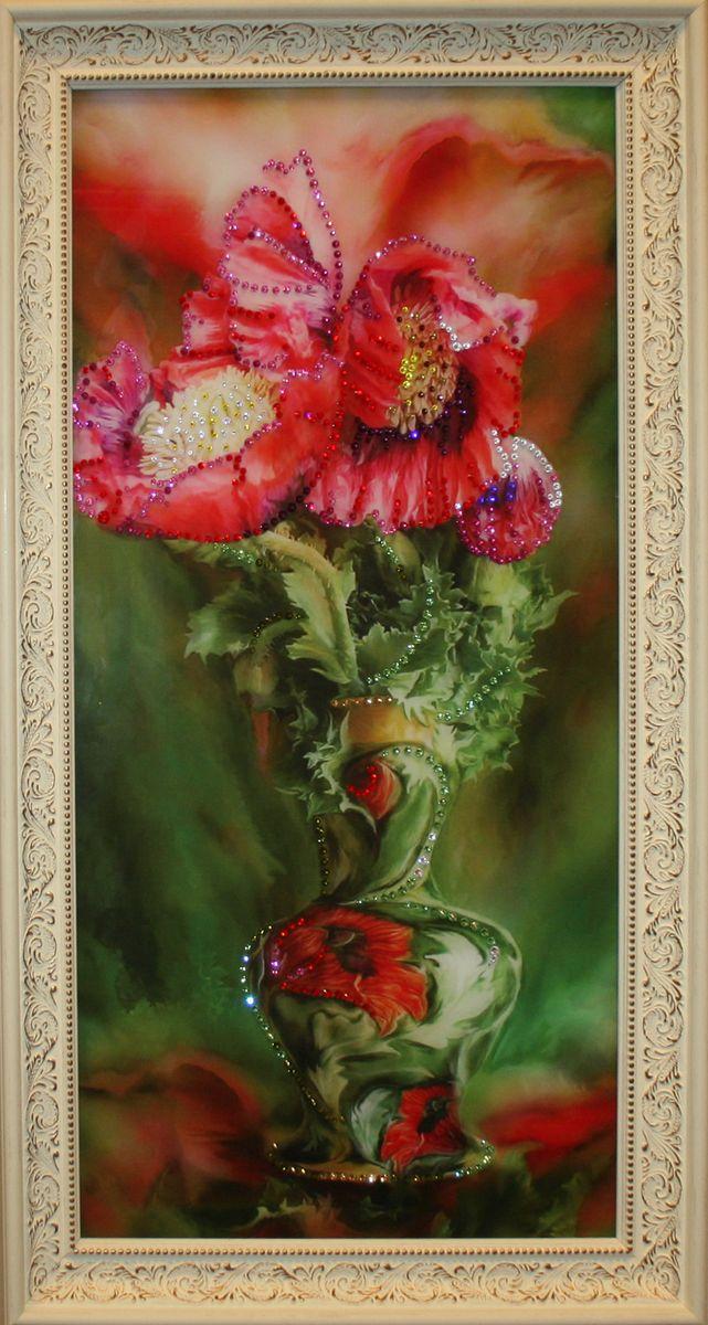 1574 Картина Сваровски БУКЕТ МАКИ МАЛЫЙU210DFстекло, хрусталь, алюминий. 25х45