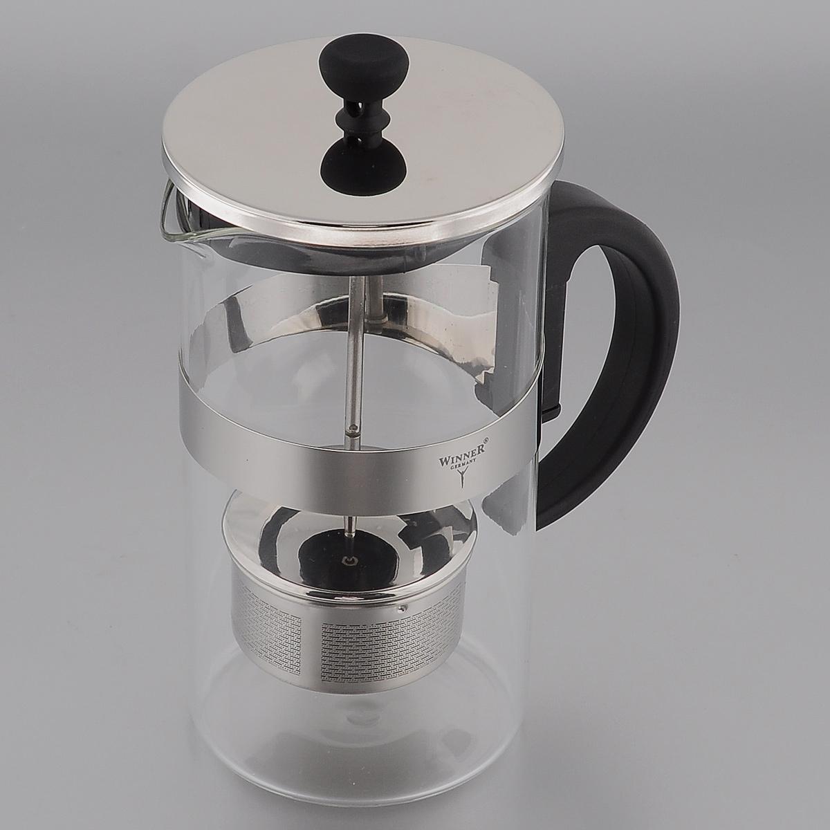 Френч-пресс Winner, 1 л. WR-5222VT-1520(SR)Френч-пресс Winner, изготовленный из термостойкого стекла с пластиковой ручкой, предоставит вам все необходимые возможности для успешного заваривания чая. Чай в таком чайнике дольше остается горячим, а полезные и ароматические вещества полностью сохраняются в напитке. Изделие оснащено фильтром, крышкой и удобным поршнем из нержавеющей стали, который поможет дозировать степень заварки напитка. Простой и удобный френч-пресс Winner поможет вам приготовить крепкий, ароматный чай.Нельзя мыть в посудомоечной машине. Не использовать в микроволновой печи.Диаметр чайника (по верхнему краю): 9,5 см.Высота чайника (без учета крышки): 18 см.Высота фильтра: 3,5 см.