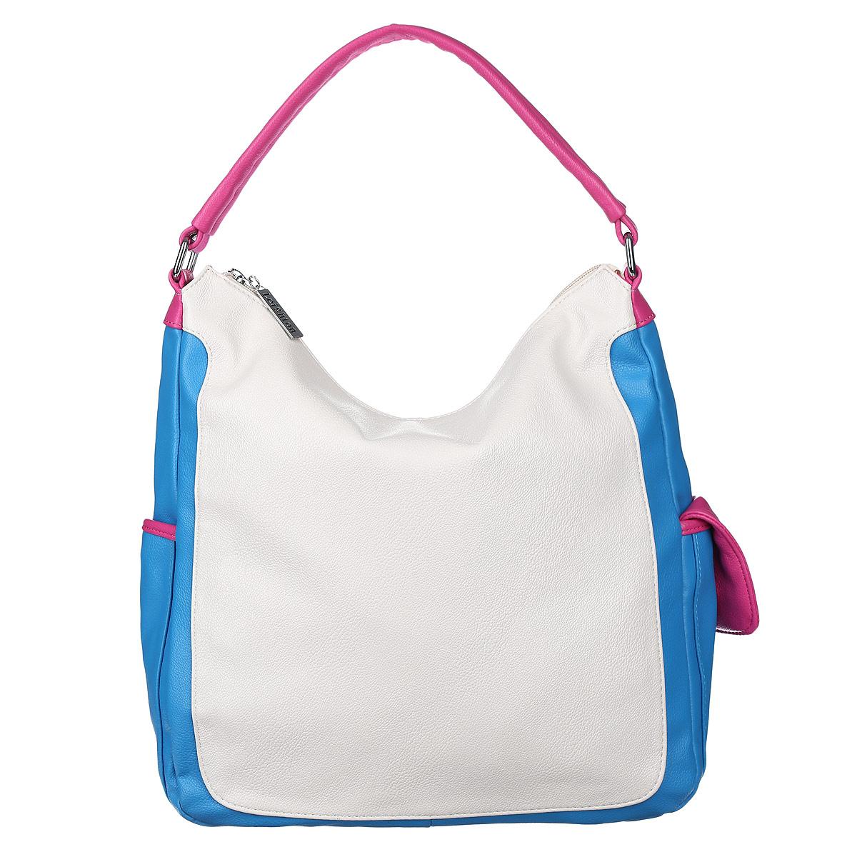 Сумка женская Leighton, цвет: белый, голубой, розовый. 10421-1070/922/1070/707/110421-1070/922/1070/707/1Стильная женская сумка Leighton выполнена из высококачественной искусственной кожи с отделкой контрастного цвета. Сумка имеет одно вместительное отделение, закрывающееся на застежку-молнию. Внутри располагается вшитый карман на застежке-молнии, образующий дополнительное малое отделение, а также два открытых кармана для мелочей и один прорезной карман на молнии. С внешней стороны на задней стенке расположен карман на молнии. По бокам сумки расположены дополнительные карманы, которые застегиваются на магнитные кнопки. Сумка имеет одну ручку. Фурнитура - серебристого цвета. Сумка - это стильный аксессуар, который подчеркнет вашу индивидуальность и сделает ваш образ завершенным. Классическое цветовое сочетание, стильный декор, модный дизайн - прекрасное дополнение к гардеробу модницы.