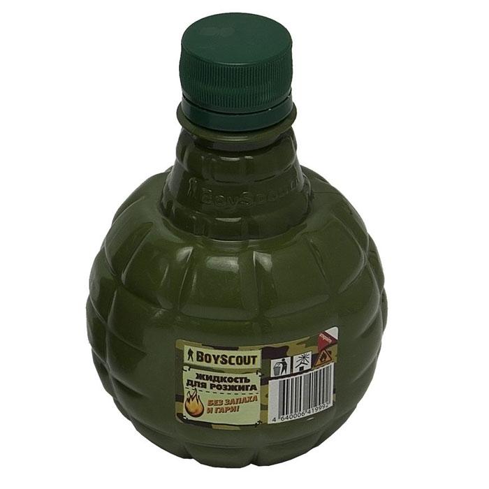 Жидкость для розжига Boyscout, парафиновая, 0,5 л61036Парафиновая жидкость Boyscout предназначена для розжига древесного угля, дров, топливных брикетов. Не имеет запаха и гари.