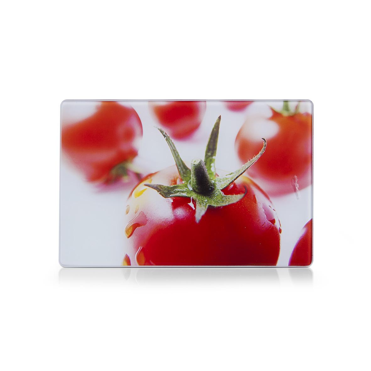 Доска разделочная Zeller Томаты, стеклянная, 30 см х 20 см94672Разделочная доска Zeller Томаты выполнена из жароустойчивого стекла. Изделие, украшенное красочным изображением спелых томатов, идеально впишется в интерьер современной кухни. Изделие легко чистить от пятен и жира. Также доску можно применять как подставку под горячее. Доска оснащена резиновыми ножками, предотвращающими скольжение по поверхности стола.Разделочная доска Zeller Томаты украсит ваш стол и сбережет его от воздействия высоких температур ваших кулинарных шедевров.