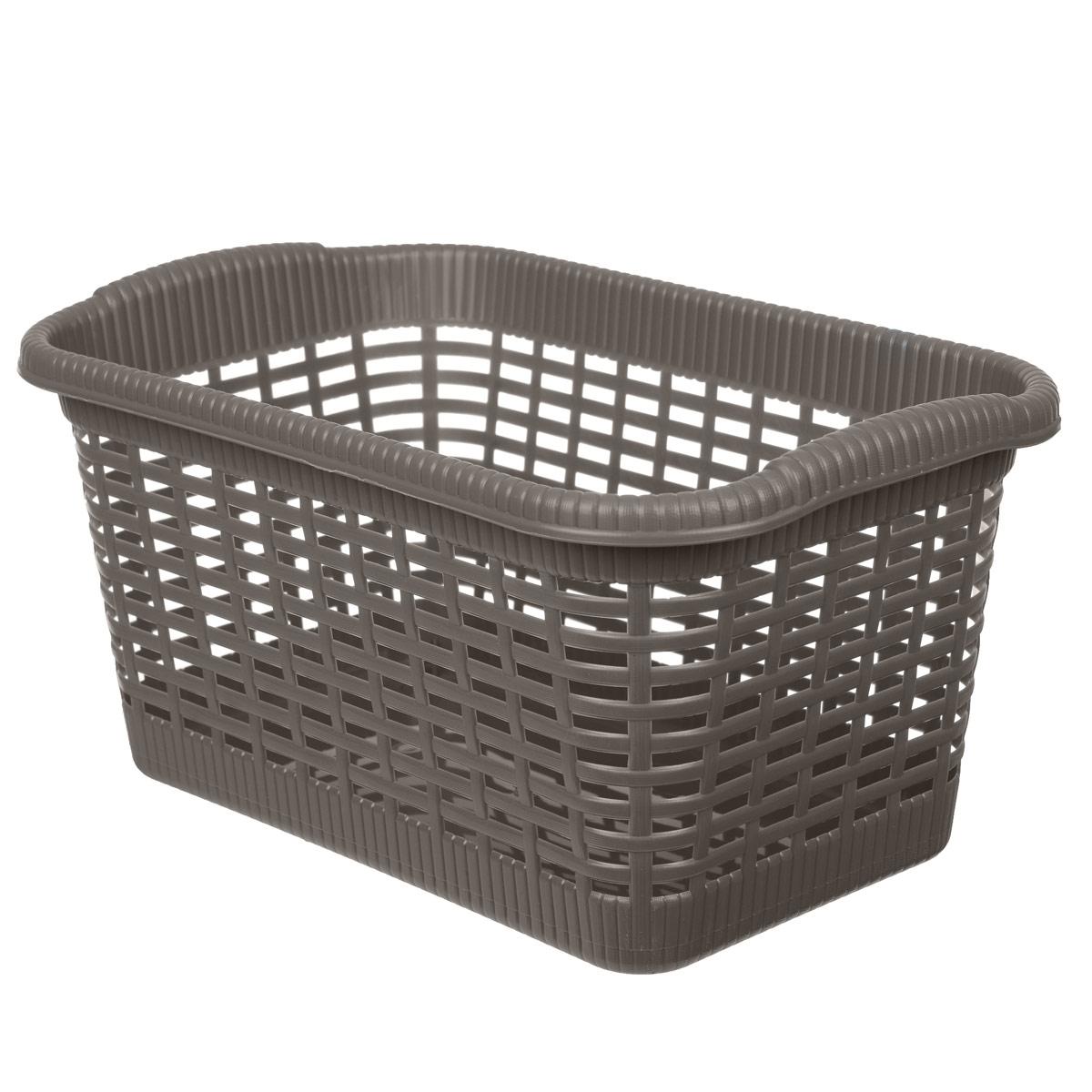 Корзина хозяйственная Gensini, цвет: коричневый, 36 x 22,5 x 18 см3302_коричневыйУниверсальная корзина Gensini, выполненная из пластика, предназначена для хранения мелочей в ванной, на кухне, даче или гараже. Позволяет хранить мелкие вещи, исключая возможность их потери. Легкая воздушная корзина выполнена под плетенку и оснащена жесткой кромкой. Размер: 36 см x 22,5 см x 18 см. Объем: 15 л.