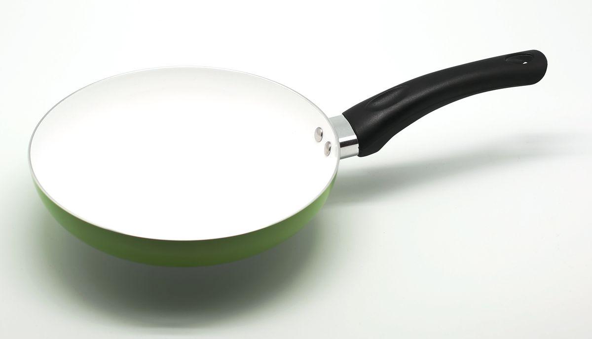 Сковорода Atlantis, с керамическим покрытием, цвет: зеленый. Диаметр 26 см94672Алюминевая сковородка с керамическим антипригарным покрытием, 26 см.
