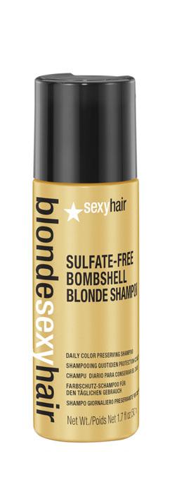 Sexy Hair Шампунь для сохранения цвета без сульфатов Sulfate-free Bombshell Blonde Shampoo, 50 мл39BOMSHA01Роскошный Шампунь для ежедневного ухода для осветленных, мелированных и седых волос. Специально разработанная технология Perfect-Balance Technology с экстрактом ромашки, меда и киноа поддерживает яркость и блеск цвета, укрепляет и увлажняет волосы, защищает от повреждений и выгорания. Стимулирует рост волос. Без сульфатов, глютена, парабенов, солей
