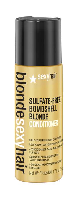 Sexy Hair Кондиционер для сохранения цвета без сульфатов, BLSH Bombshell Blonde Conditioner, 50 млFS-00103Роскошный Кондиционер для ежедневного ухода для осветленных, мелированных и седых волос. Укрепляет волосы, защищает от повреждений и появления секущихся кончиков. Специально разработанная технология Perfect-Balance Technology с экстрактом ромашки, меда и киноа смягчает, увлажняет волосы, предохраняет от выгорания, делает волосы мягкими и сияющими. Без сульфатов, глютена, парабенов, солей.