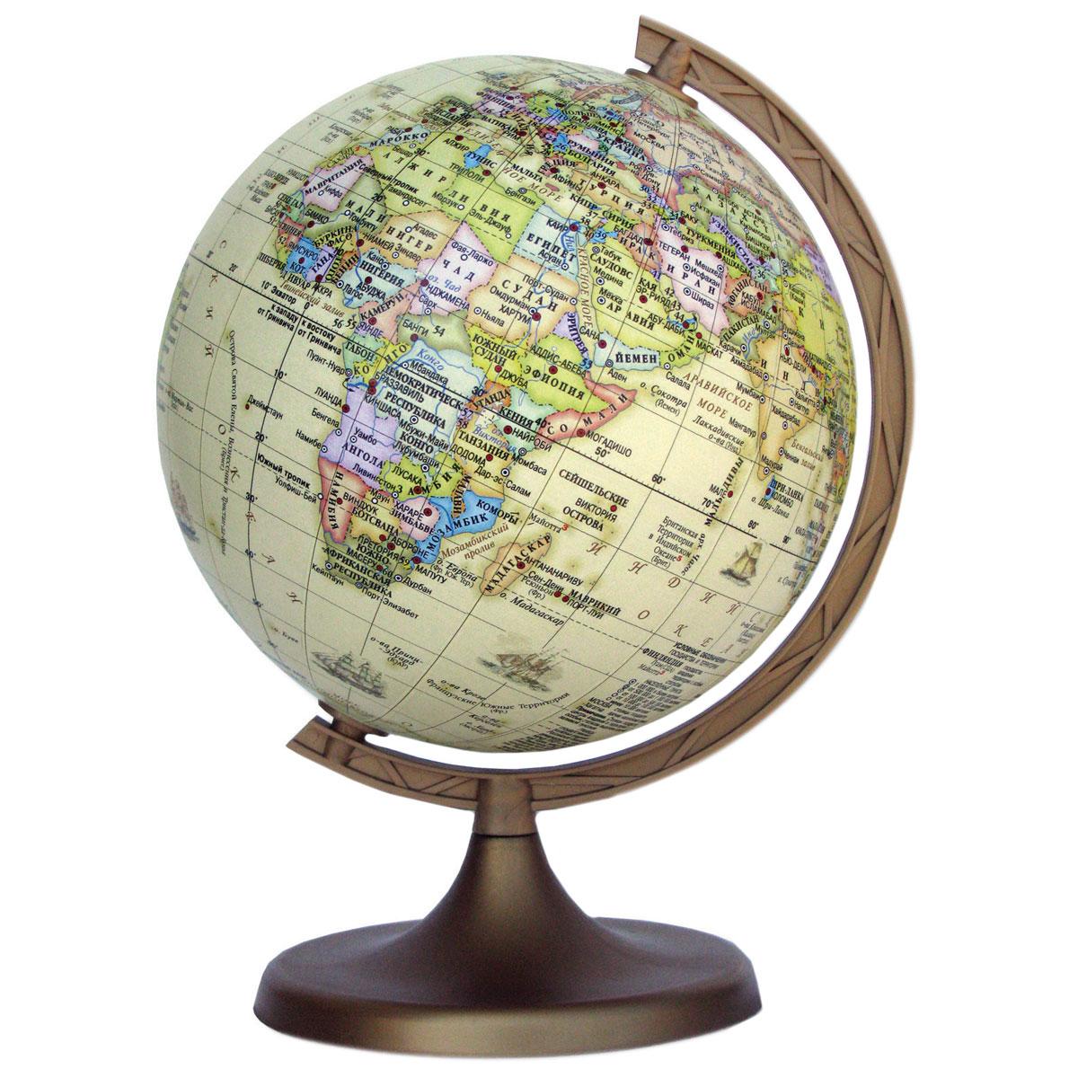 Глобус DMB Ретро, c политической картой мира, диаметр 11 см + Мини-энциклопедия Страны МираFS-00897Политический глобус DMB Ретро, изготовленный из высококачественногопрочного пластика, дает представление о политическом устройстве мира. Он напоминает глобусы, которые делали в старину, но с современными картами нынешней Земли. Как правило, карта таких глобусов является современной политической. Ретро глобусы очень популярны для домашнего и офисного оформления, потому что удачно вписываются в интерьер благодаря своему бежевому нежному цвету.Изделие расположено на подставке. Все страны мира раскрашены в разныецвета. На политическом глобусе показаны границы государств, столицы икрупные населенные пункты, а также картографические линии: параллели имеридианы, линия перемены дат. Названия стран на глобусе приведены нарусском языке. Ничто так не обеспечивает всестороннего и детальногоизучения политического устройства мира в таком сжатом и объемном образе,как политический глобус. Сделайте первый шаг в стимулирование своегообучения! К глобусу прилагается мини-энциклопедия Страны Мира с краткимописанием всех стран. Настольный глобус DMB Ретро станет оригинальным украшением рабочегостола или вашего кабинета. Это изысканная вещь для стильного интерьера,которая станет прекрасным подарком для современного преуспевающегочеловека, следующего последним тенденциям моды и стремящегося кэлегантности и комфорту в каждой детали.Высота глобуса с подставкой: 17 см.Диаметр глобуса: 11 см.Масштаб: 1:115 000 000.