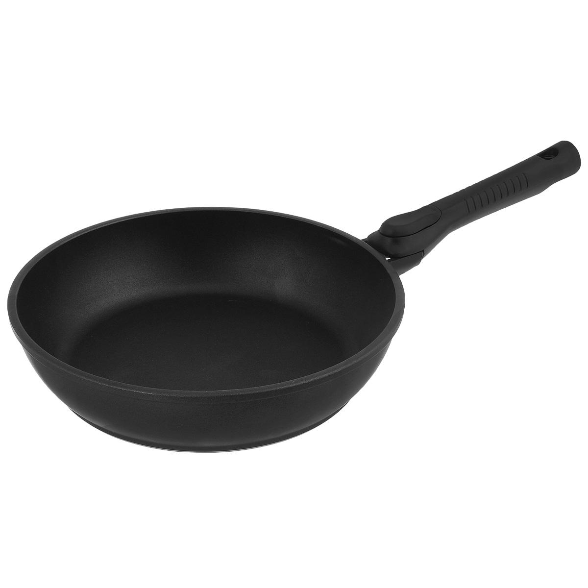 Сковорода литая Нева Металл Посуда Классическая, с антипригарным покрытием, со съемной ручкой, цвет: черный. Диаметр 24 см8024УСковорода НМП Классическая из литого алюминия, с 4-слойным полимер-керамическим антипригарным покрытием, многофункциональна и удобна в эксплуатации, в ней можно жарить, тушить и томить. Отлично подходит для приготовления гарниров и блюд с большим количеством ингредиентов. Эргономичная ручка - съемная, что позволяет использовать сковороду в духовом шкафу. Благодаря качественному антипригарному покрытию, вы можете готовить с минимальным количеством масла. Особенности посуды серии ТИТАН: - 4-слойная антипригарная полимер-керамическая система ТИТАН является эталоном износостойкости антипригарного покрытия, непревзойденного по сроку службы и длительности сохранения антипригарных свойств, благодаря особому составу, структуре и толщине - в состав системы ТИТАН входят антипригарные слои на водной основе - система ТИТАН традиционно производится без использования PFOA /перфтороктановой кислоты/ - равномерно нагревается за счет особой конструкции корпуса по...