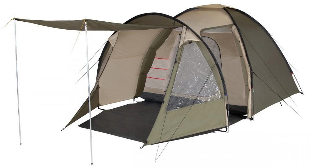 Палатка пятиместная TREK PLANET Atlanta Air 5, цвет: светло-коричневый, хаки800802Пятиместная двухслойная кемпинговая палатка TREK PLANET Atlanta Air 5 с вместительным светлым тамбуром, обзорными окнами и двумя входами в тамбур и дополнительным входом в спальное помещение с противоположной стороны палатки.Особенности:Тент палатки из полиэстера с пропиткой PU надежно защищает от дождя и ветра,Все швы проклеены,Высокий, вместительный и светлый тамбур с двумя входами,Боковая дверь тамбура закрывается молнией, спрятанной под внешним клапаном, что препятствует попаданию влаги через молнию во время дождя,Два обзорных окна со шторками во внутреннем помещении,Большой выносной козырек на металлических стойках,Эффективная потолочная система вентиляции во внутренней палатке, Съемный пол в тамбуре из армированного полиэтилена,Дно из прочного водонепроницаемого армированного полиэтилена позволяет устанавливать палатку на жесткой траве, песчаной поверхности, глине,Дуги из прочного стеклопластика,Внутренняя палатка из дышащего полиэстера, обеспечивает вентиляцию помещения и позволяет конденсату испаряться, не проникая внутрь палатки,Два входа в спальное помещение,Удобная D-образная дверь на каждом входе в спальное отделение,Москитная сетка на каждом входе во внутреннюю палатку в полный размер двери,Органайзер на передней стенке спального отделения,Внутренние карманы для мелочей во внутренней палатке,Возможность подвески фонаря в палатке,Для удобства транспортировки и хранения предусмотрен чехол из прочного полиэстера OXFORD, с двумя ручками и закрывающийся на застежку-молнию.