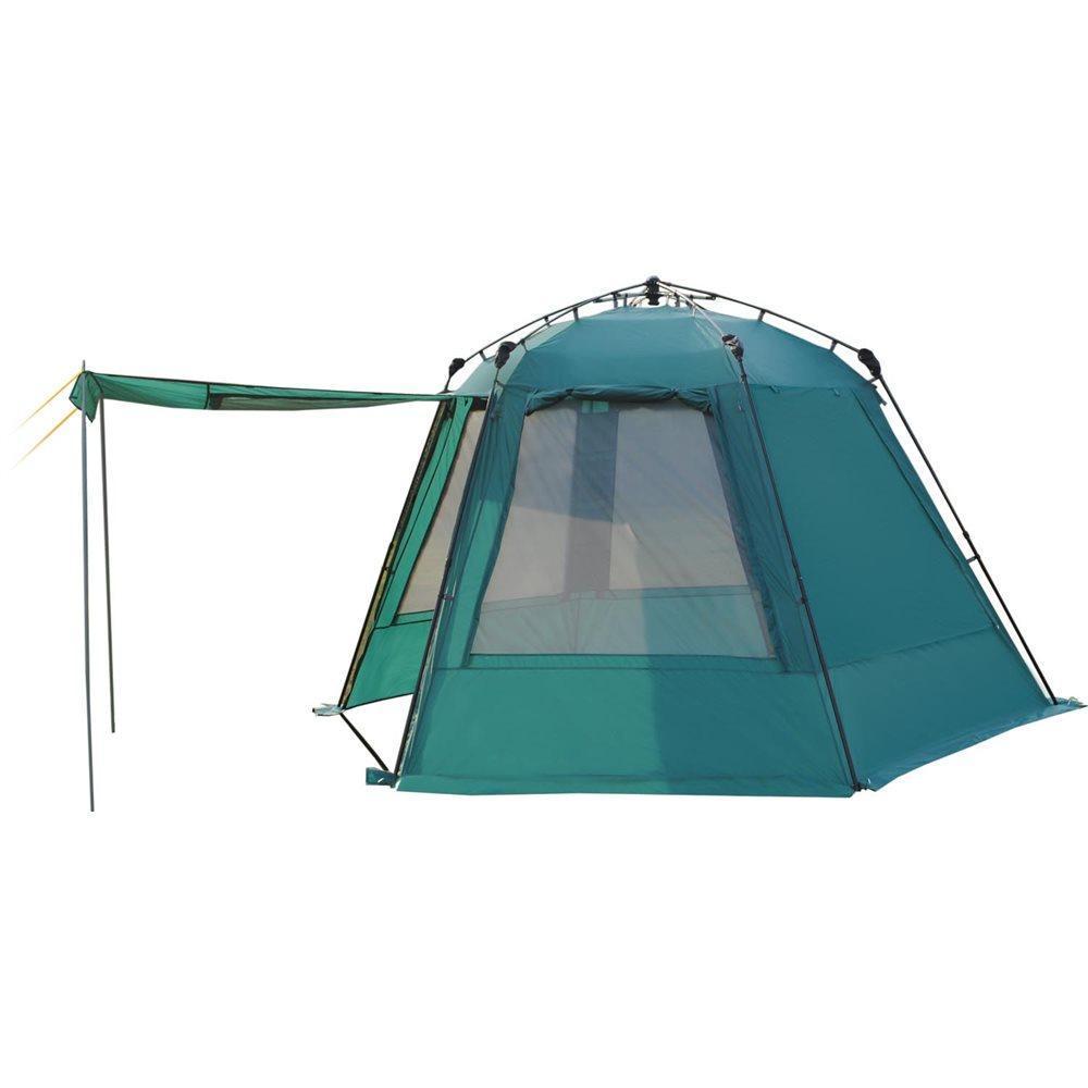 Тент-шатер GREENELL Грейндж, полувтоматический, цвет: зеленый81-334Тент-шатер с полуавтоматическим каркасом, телескопическими дугами для быстрой установки, двумя входами, все стенки продублированы москитной сеткой. Дополнительные стойки, позволяют сделать навес от солнца. Облегченная регулировка оттяжек. Оттяжки со световозвращающей нитью.