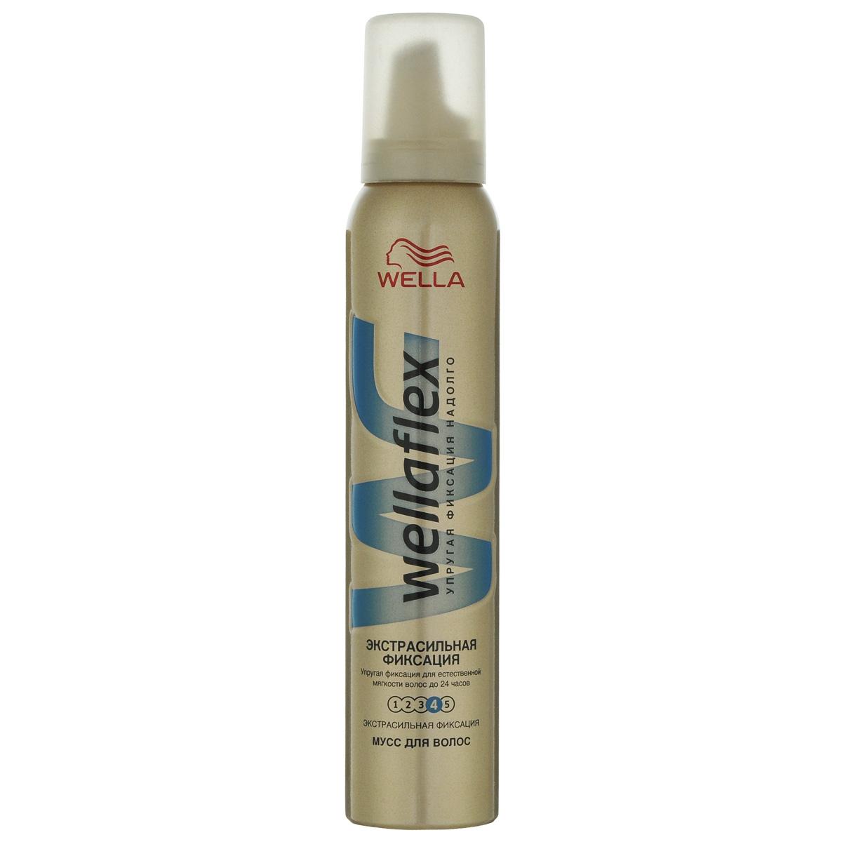 Wellaflex Мусс для укладки волос Экстрасильная фиксация до 24 часов, 200 млWF-81145208Мусс для укладки волос Wellaflex Объем до 2-х дней экстрасильной фиксации обеспечивает упругую фиксацию и заметный объем прически. Формула Запас объема и гибкости образует на волосах структуру, которая, пружиня, помогает поддерживать длительный объем. Мусс сохраняет эластичность волос и защищает их от УФ-лучей. Не склеивает волосы. Характеристики: Объем: 200 мл. Товар сертифицирован. Уважаемые клиенты! Обращаем ваше внимание на измененный дизайн упаковки. Поставка осуществляется в зависимости от наличия на складе.