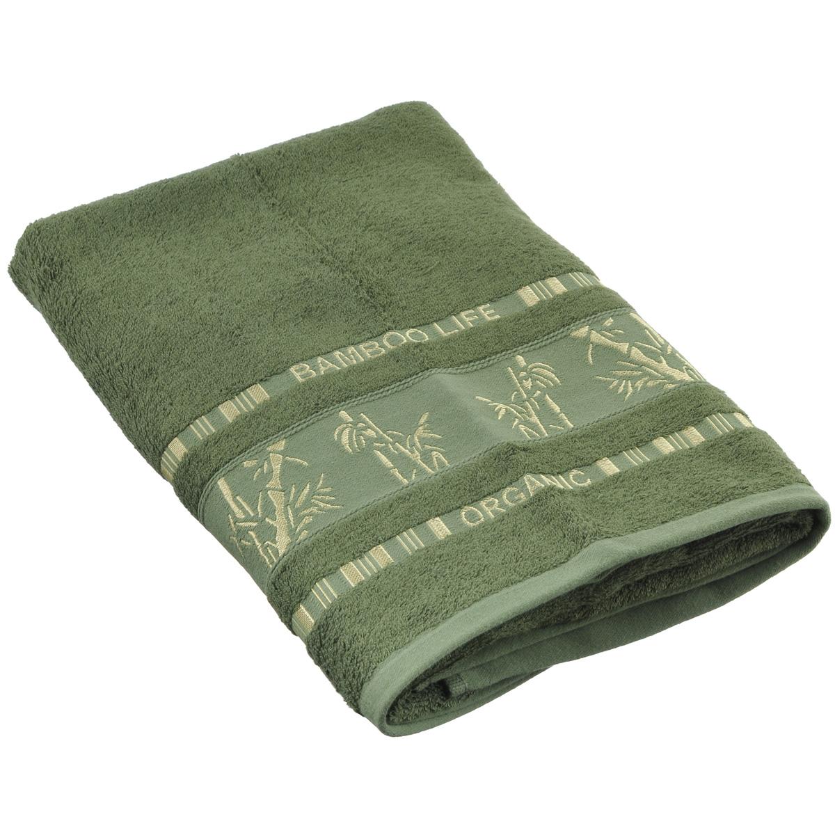 Полотенце Mariposa Bamboo, цвет: темно-зеленый, 70 см х 140 см50822Полотенце Mariposa Bamboo, изготовленное из 60% бамбука и 40% хлопка, подарит массу положительных эмоций и приятных ощущений. Полотенца из бамбука только издали похожи на обычные. На самом деле, при первом же прикосновении вы ощутите невероятную мягкость и шелковистость. Таким полотенцем не нужно вытираться - только коснитесь кожи - и ткань сама все впитает! Несмотря на богатую плотность и высокую петлю полотенца, оно быстро сохнет, остается легким даже при намокании. Полотенце оформлено изображением бамбука. Благородный тон создает уют и подчеркивает лучшие качества махровой ткани. Полотенце Mariposa Bamboo станет достойным выбором для вас и приятным подарком для ваших близких. Размер полотенца: 70 см х 140 см.