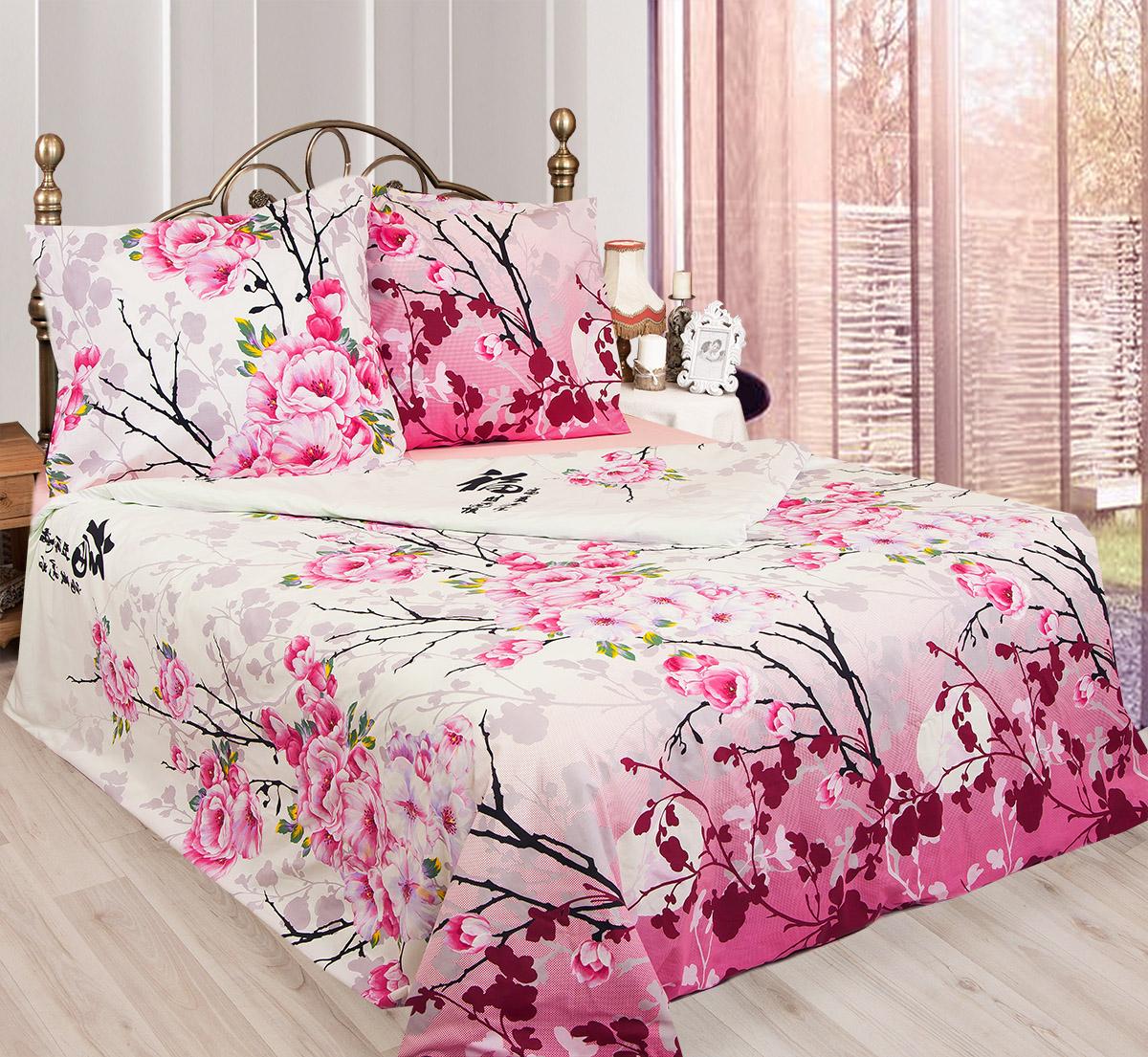 Комплект белья Sova & Javoronok Японский мотив, 2-спальный, наволочки 50х70, цвет: белый, розовый, сиреневый. 203111411203111411Комплект постельного белья Sova & Javoronok Японский мотив является экологически чистым и безопасным для всей семьи, так как выполнен из натурального хлопка. Комплект состоит из пододеяльника, простыни и двух наволочек. Постельное белье оформлено изображением цветущей сакуры и иероглифами. Бязь - 100 % хлопок, хлопчатобумажная ткань полотняного переплетения без искусственных добавок. Большое количество нитей делает эту ткань более плотной, более долговечной. Высокая плотность ткани позволяет сохранить форму изделия, его первоначальные размеры и первозданный рисунок. Легко стирается и хорошо гладится. При соблюдении рекомендуемых условий стирки, сушки и глажения ткань имеет усадку по ГОСТу, сохраняется яркость текстильных рисунков.