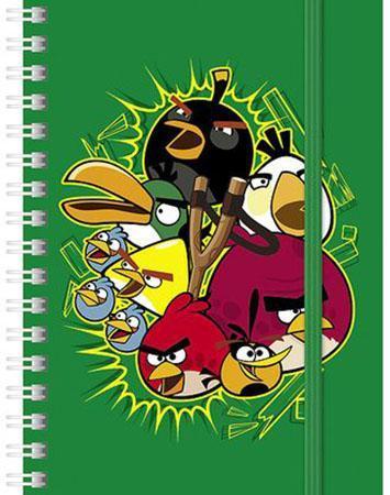 Записная книжка 120л А6ф клетка на гребне на резинке серия -ANGRY BIRDS-, зеленый120ЗК6Bр1гр