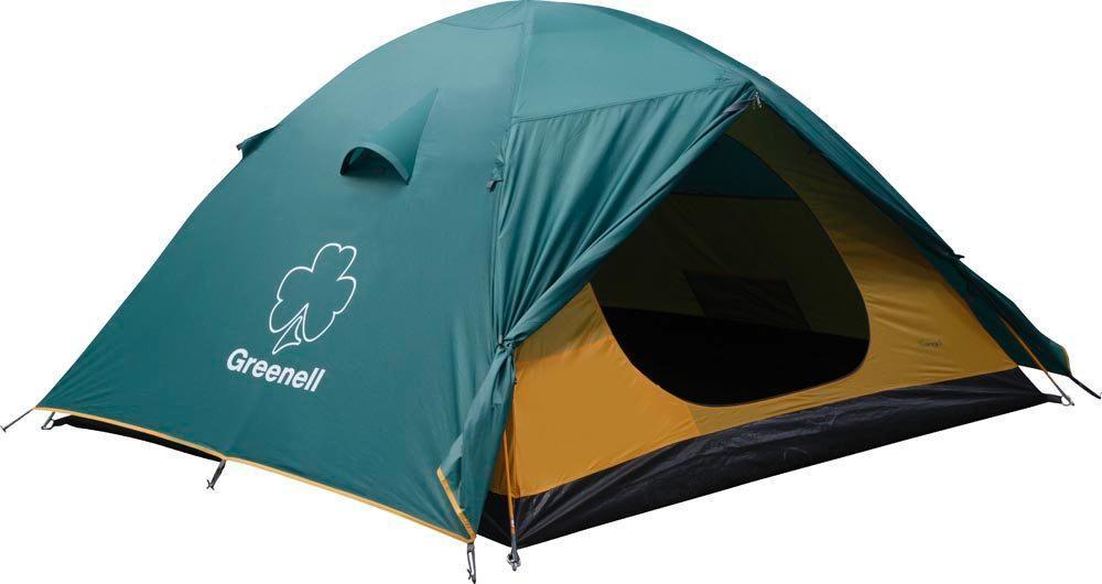 Палатка GREENELL Гори 4, цвет: зеленый25403-303-00Универсальная четырехместная палатка для путешествий. Мобильно, комфортно, удобно! Два входа и два тамбура. Проточная вентиляция.