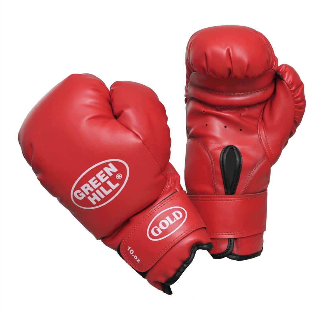 Перчатки боксерские Green Hill Gold, цвет: красный. Вес 10 унцийBGG-2030Боксерские тренировочные перчатки Green Hill Gold отлично подойдут для начинающих спортсменов. Верх выполнен из искусственной кожи. Мягкий наполнитель из очеса предотвращает любые травмы. Широкий ремень, охватывая запястье, полностью оборачивается вокруг манжеты, благодаря чему создается дополнительная защита лучезапястного сустава от травмирования. Застежка на липучке способствует быстрому и удобному одеванию перчаток, плотно фиксирует перчатки на руке.
