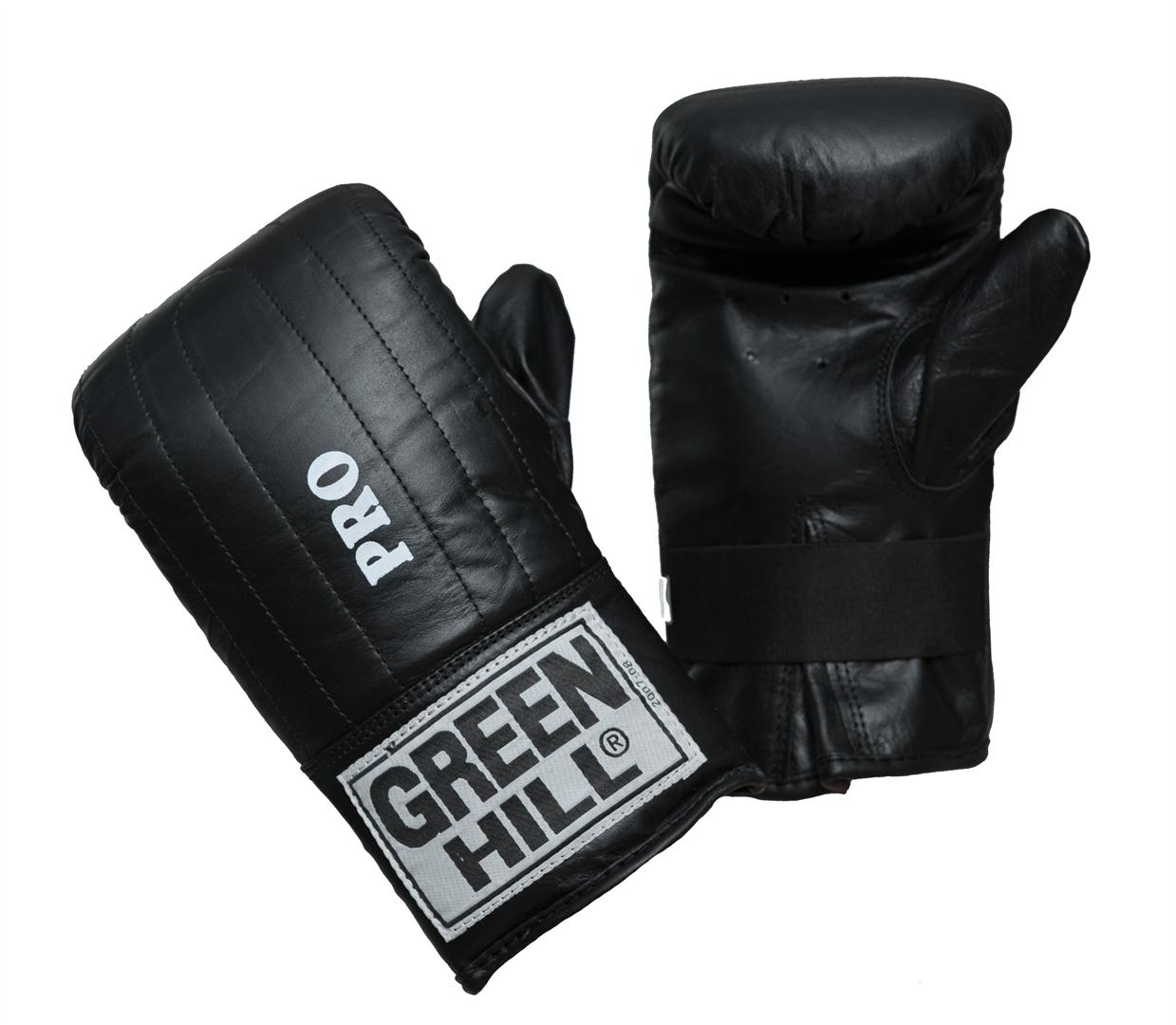 Перчатки снарядные Green Hill Pro, цвет: черный. Размер SAP02013Снарядные перчатки Green Hill Pro предназначены для отработки ударов по мешкам и лапам, а также для легких спаррингов. Перчатки выполнены из натуральной кожи с мягким наполнителем внутри. Манжет не резинке позволяет быстро снимать и одевать перчатки, плотно фиксирует их на руке.