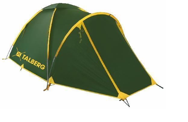 Палатка Talberg BONZER 3, цвет: зеленыйУТ-000059331Легкая двухслойная трехместная палатка с вместительным тамбуром для вещей и внешним каркасом для быстрой и легкой установки. Туристическая линия Talberg. Палатки Talberg Туристической линии были специально разработаны для походов в весеннее, летнее и осеннее время. В палатках этой серии используются материалы и конструкции, которые позволяют комфортно провести теплую летнюю ночь или переждать серьезную непогоду с сильным ветром и осадками. Состав материала: полиэстер, фибергласс