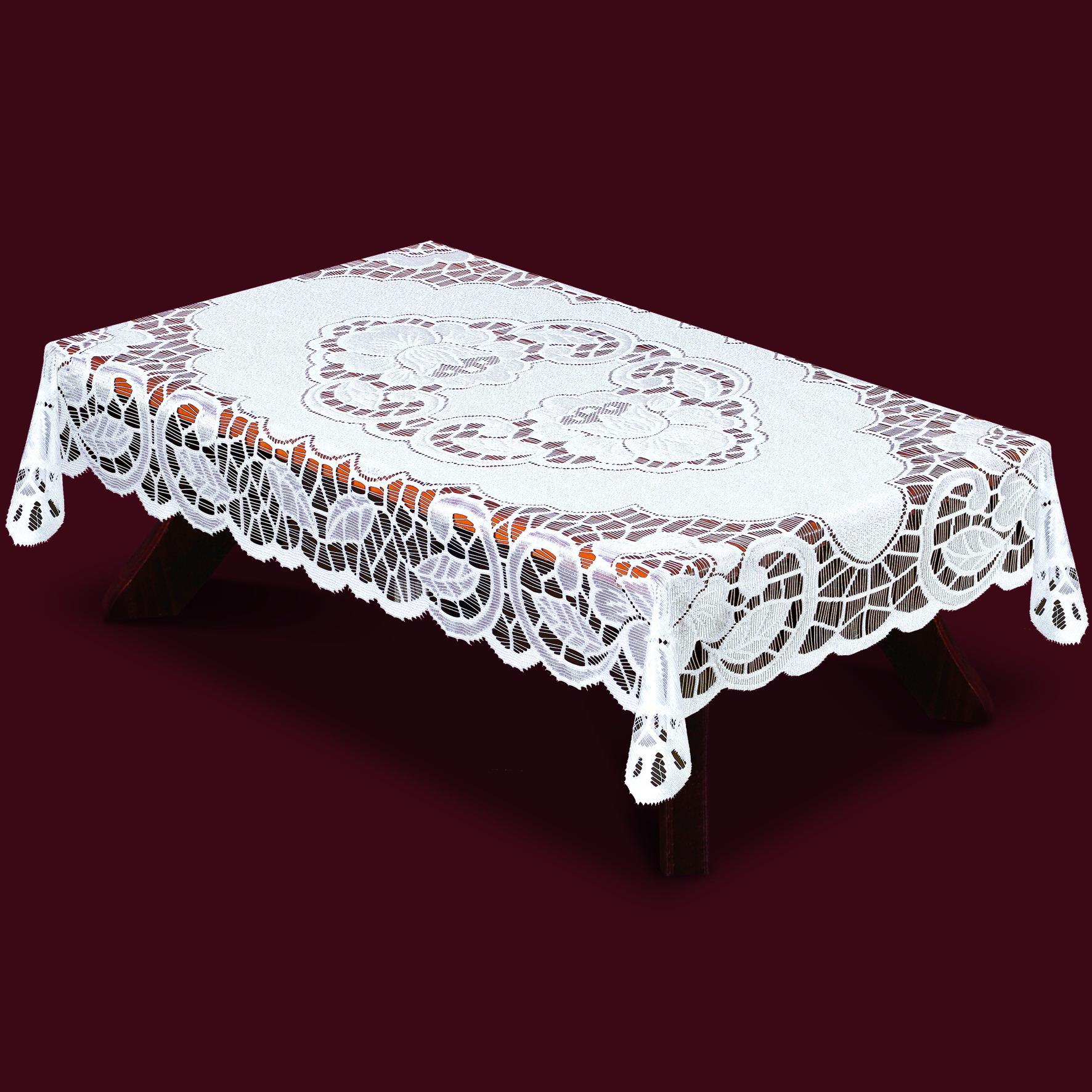 Скатерть Haft Skarb Babuni, прямоугольная, цвет: белый, 130 x 180 см. 38850/13038850/130Великолепная прямоугольная скатерть Haft Skarb Babuni, выполненная из 100% полиэстера, органично впишется в интерьер любого помещения, а оригинальный дизайн удовлетворит даже самый изысканный вкус. Скатерть изготовлена из сетчатого материала с ажурным орнаментом по краям и по центру. Скатерть Haft Skarb Babuni создаст праздничное настроение и станет прекрасным дополнением интерьера гостиной, кухни или столовой.