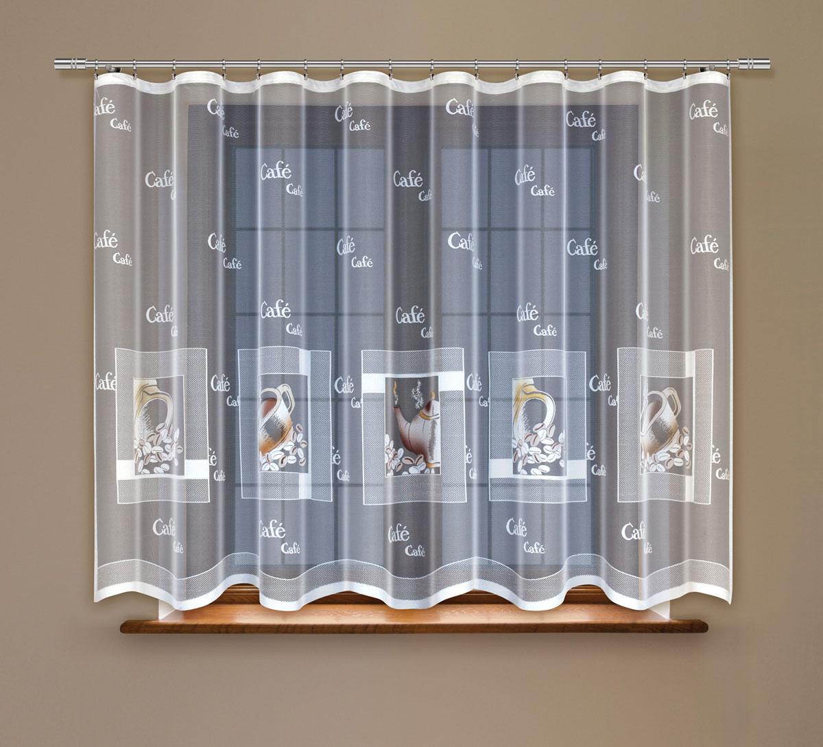 Гардина Haft, на ленте, цвет: белый, высота 130 см. 219161219161/130Гардина Haft, изготовленная из полиэстера, станет великолепным украшением любого окна. Тонкое плетение и оригинальный дизайн привлекут к себе внимание. Изделие органично впишется в интерьер. Гардина крепится на карниз при помощи ленты, которая поможет красиво и равномерно задрапировать верх.