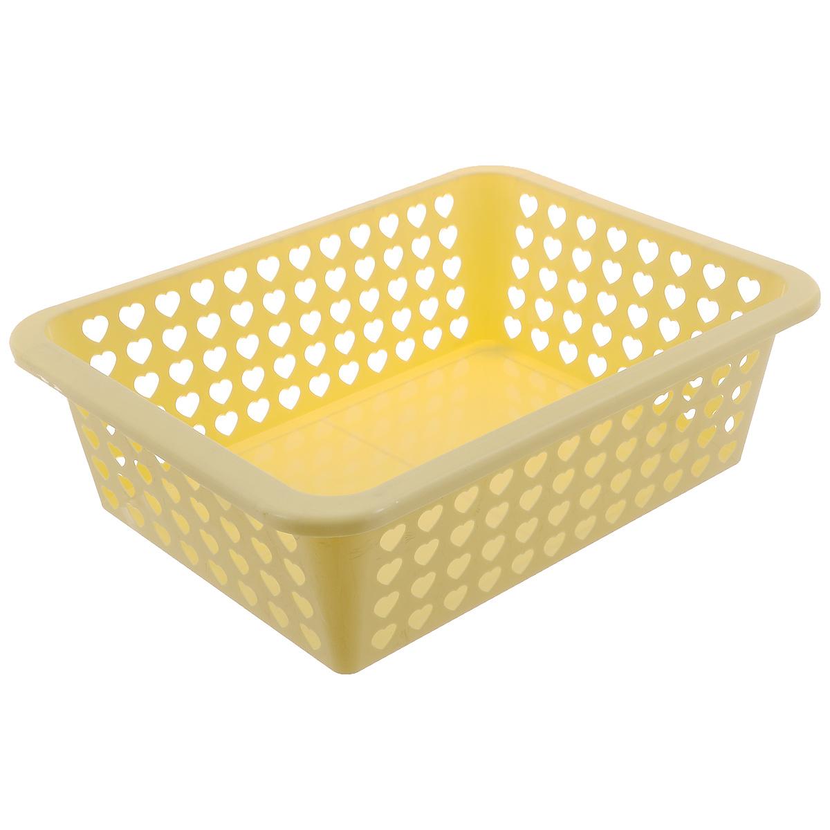 Корзина Альтернатива Вдохновение, цвет: желтый, 39,5 х 29,7 х 12 см587074Корзина Альтернатива Вдохновение выполнена из пластика и оформлена перфорацией в виде сердечек. Изделие имеет сплошное дно и жесткую кромку. Корзина предназначена для хранения мелочей в ванной, на кухне, на даче или в гараже. Позволяет хранить мелкие вещи, исключая возможность их потери.