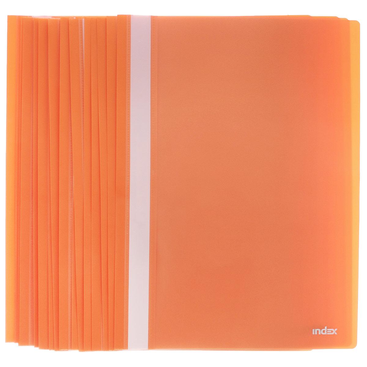 Папка-скоросшиватель Index, цвет: оранжевый. Формат А4, 20 штI200/ORПапка-скоросшиватель Index, изготовленная из высококачественного полипропилена, это удобный и практичный офисный инструмент, предназначенный для хранения и транспортировки рабочих бумаг и документов формата А4. Папка оснащена верхним прозрачным матовым листом и металлическим зажимом внутри для надежного удержания бумаг. В наборе - 20 папок. Папка-скоросшиватель - это незаменимый атрибут для студента, школьника, офисного работника. Такая папка надежно сохранит ваши документы и сбережет их от повреждений, пыли и влаги. Комплектация: 20 шт.