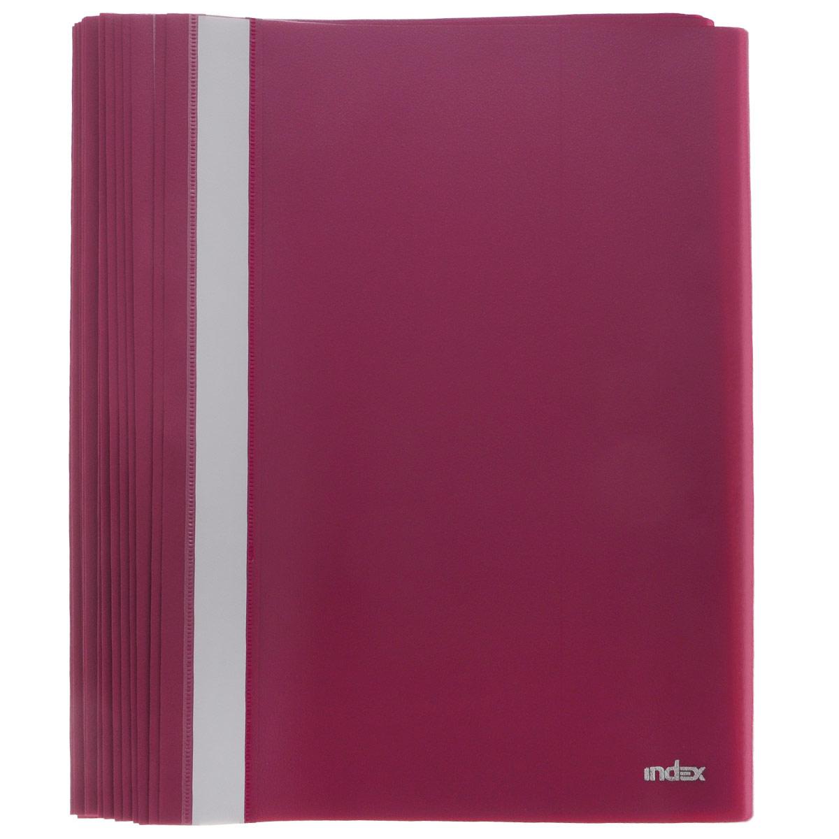 Папка-скоросшиватель Index, цвет: бордовый. Формат А4, 20 штFS-36054Папка-скоросшиватель Index, изготовленная из высококачественного полипропилена, это удобный и практичный офисный инструмент, предназначенный для хранения и транспортировки рабочих бумаг и документов формата А4. Папка оснащена верхним прозрачным матовым листом и металлическим зажимом внутри для надежного удержания бумаг. В наборе - 20 папок.Папка-скоросшиватель - это незаменимый атрибут для студента, школьника, офисного работника. Такая папка надежно сохранит ваши документы и сбережет их от повреждений, пыли и влаги.Комплектация: 20 шт.
