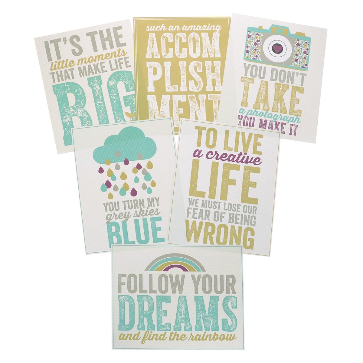 Карточки для скрапбукинга My Minds Eye Here is Happy, 6 штREC132Карточки My Minds Eye Here is Happy - это элементы для создания изделий в скрапбукинге и кардмейкинге. Ими можно дополнять дизайн своих фото-альбомов, открыток, подарочных коробок, тетрадей - используется для всего, на что хватит фантазии. С их помощью можно сделать вещи более запоминающимися и красивыми. Можно оформить их как приглашения на ужин, анкеты или открытки. Каждая карточка имеет свой оригинальный дизайн. Создавайте оригинальные композиции и украшайте свои творческие задумки! Размер карточки: 25 см х 20 см.