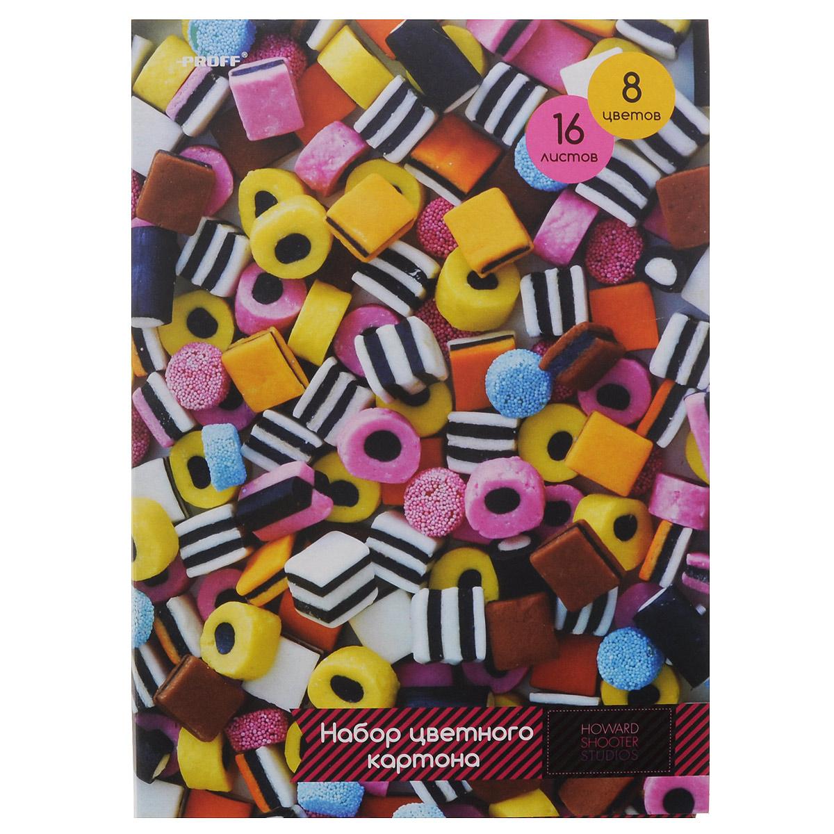 Набор цветного картона Proff  Сладости, 16 листов7708050Набор цветного мелованного картона Proff Сладости позволит создавать всевозможные аппликации и поделки. Набор состоит из16 листов формата А4 одностороннего цветного картона восьми цветов: желтого, оранжевого, красный, белого, голубого, черного, коричневого и зеленого. Создание поделок из цветного картона позволяет ребенку развивать творческие способности, кроме того, это увлекательный досуг. Набор упакован в картонную папку с аппетитным изображением.