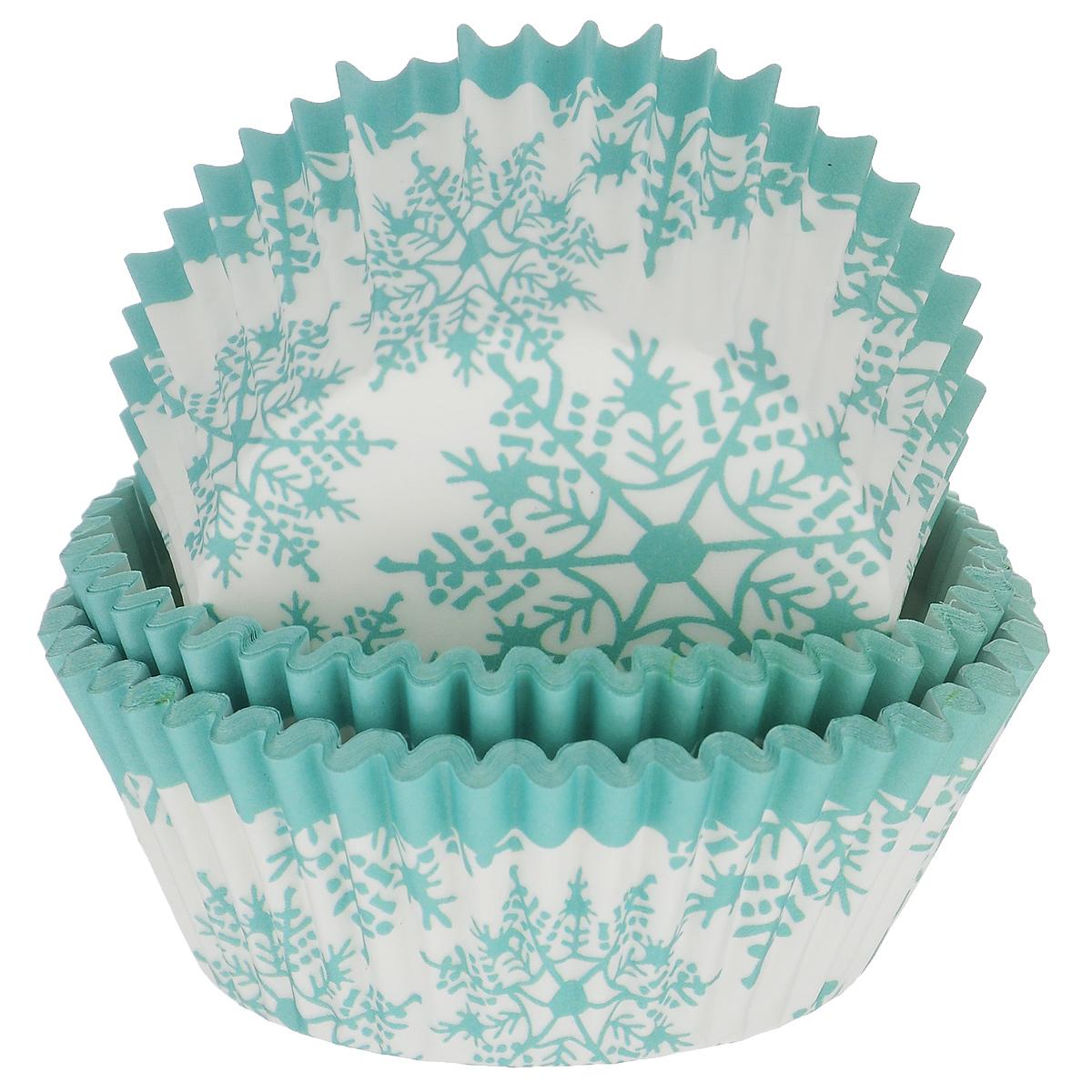 Набор бумажных форм для кексов Dolce Arti Снежинки, цвет: бирюзовый, белый, диаметр 5 см, 50 штDA080216Набор Dolce Arti Снежинки состоит из 50 бумажных форм для кексов, оформленных изображением снежинок. Они предназначены для выпечки и упаковки кондитерских изделий, также могут использоваться для сервировки орешков, конфет и много другого. Для одноразового применения. Гофрированные бумажные формы идеальны для выпечки кексов, булочек и пирожных. Высота стенки: 3 см. Диаметр (по верхнему краю): 7 см.
