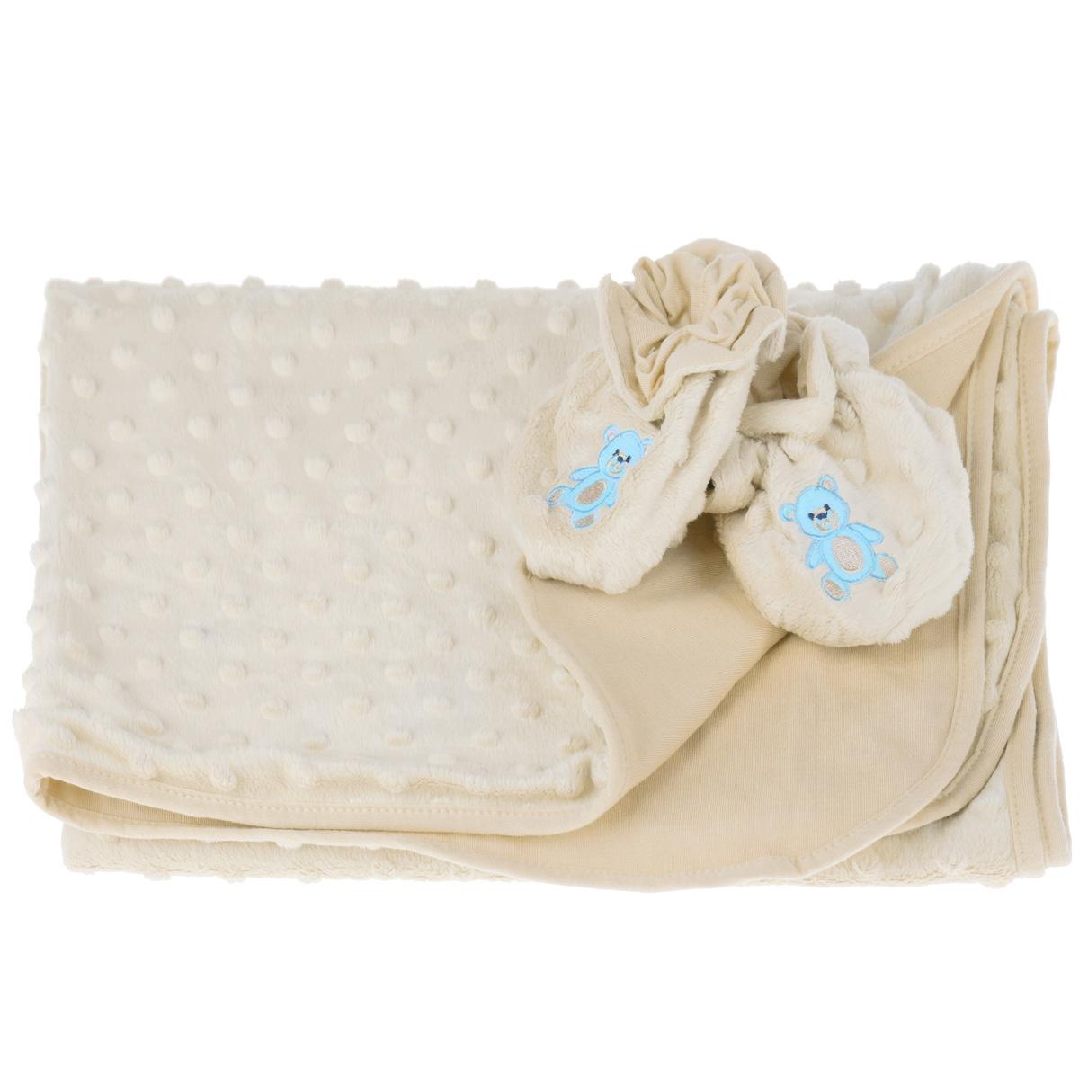 Набор детский Baby Nice: покрывало, пинетки, цвет: бежевый521901Детский набор Baby Nice в коляску, состоит из одеяла и пинеток. Набор изготовлен из экологичных материалов: верх изготовлен из ткани нового поколения Micro Velour, обладающей терморегулирующими и влагорегулирующими свойствами, подкладка - 100% натуральный хлопчатобумажный трикотаж. Пинетки украшены небольшой вышивкой в виде мишек. Они дышащие, из легкой воздухопроницаемой ткани, и сохраняющие тепло, что не позволят замерзнуть ножкам ребенка. Мама малыша, укрытого потрясающе мягким, необыкновенно легким и исключительно теплым одеялом, может быть спокойна за покой и комфортный сон своего ребенка на прогулке, на свежем воздухе. Набор окрашен гипоаллергенными красителями. Размер одеяла: 70 см х 98 см. Пинетки для детей от 0 до 3 лет.