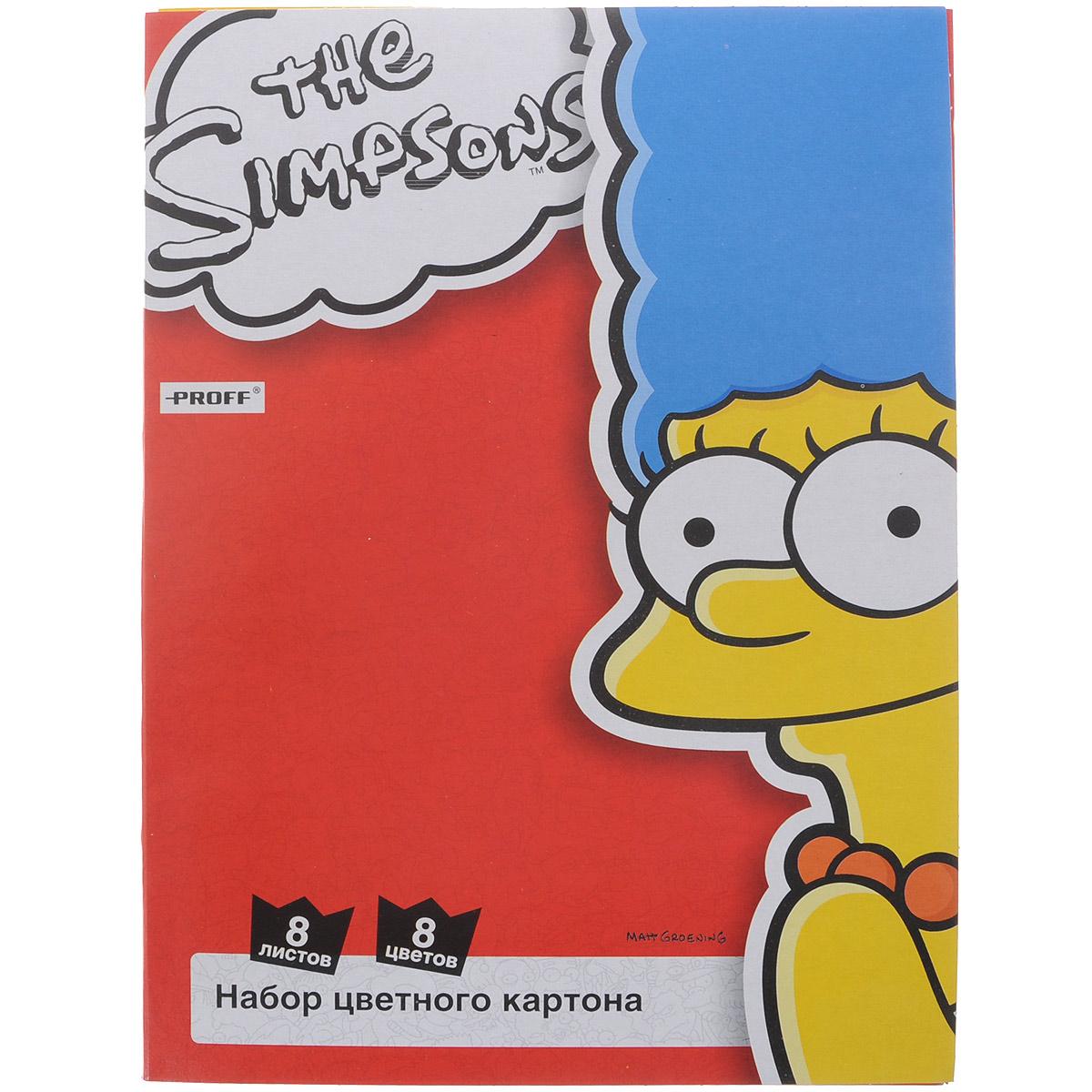 Набор цветного картона The Simpsons, 8 листовSI15-CCS08Набор цветного картона Proff The Simpsons прекрасно выполненный, замечательный набор для детского творчества Набор позволит создавать всевозможные аппликации и поделки. Набор состоит из картона желтого, черного, зеленого, белого, красного, синего, оранжевого и малинового цветов. Создание поделок из цветного картона позволяет ребенку развивать творческие способности, кроме того, это увлекательный досуг. Творите вместе с Proff!