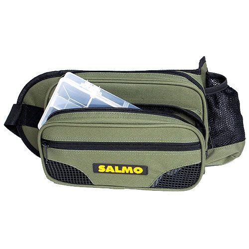 Сумка рыболовная поясная Salmo 59, цвет: зеленый, черный, 26 см х 15 см х 6,5 см162Поясная рыболовная сумка Salmo 59 выполнена из прочного нейлона. Имеет 1 вместительное отделение на застежке-молнии. Спереди имеется 2 кармана на застежке-молнии. На поясе расположен сетчатый карман. Поясной ремень регулируется по длине.В комплекте пластиковая коробка для переноски снастей.Количество отделений коробки: 8.
