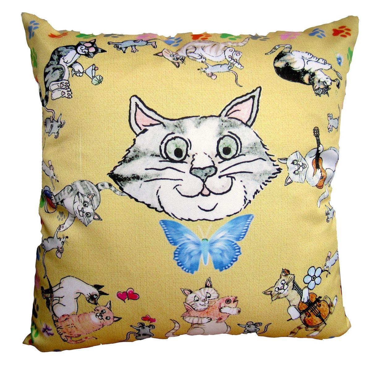 Подушка декоративная GiftnHome CatsnMouse, 35 см х 35 смPLW-35 Кошки-МышкиДекоративная подушка GiftnHome CatsnMouse - это яркое украшение вашего дома. Чехол выполнен из искусственного шелка и декорирован красочным изображением. Чехол закрывается на молнию. Внутреннее наполнение подушки - холлофайбер. Мягкая и комфортная подушка GiftnHome CatsnMouse не оставит равнодушными тех, кто ценит красоту и комфорт. Размер: 35 см х 35 см.