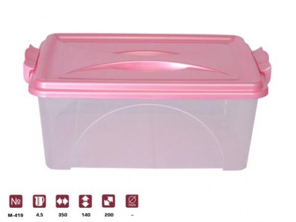 Контейнер прямоуг. с ручками 4,5л.. М419 розовыйМ419Контейнер прямоуг. с ручками 4,5л.