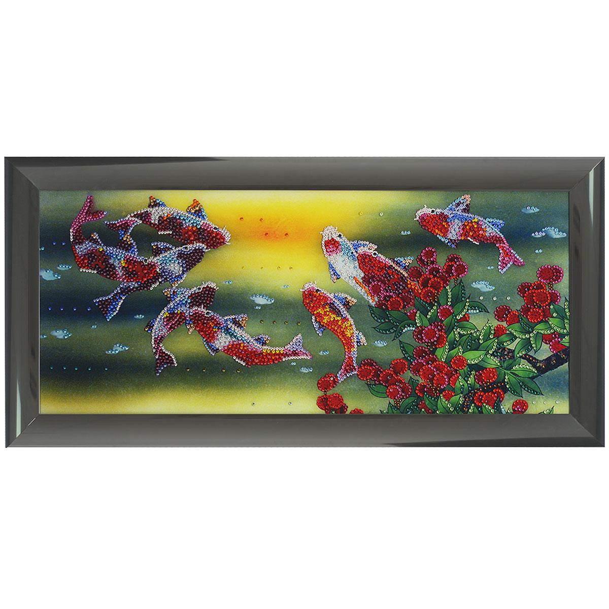 Картина с кристаллами Swarovski Рыбы Тай, 77,5 см х 37,5 см1435Изящная картина в алюминиевой раме Рыбы Тай инкрустирована кристаллами Swarovski, которые отличаются четкой и ровной огранкой, ярким блеском и чистотой цвета. Идеально подобранная палитра кристаллов прекрасно дополняет картину. С задней стороны изделие оснащено специальной металлической петелькой для размещения на стене. Картина с кристаллами Swarovski элегантно украсит интерьер дома, а также станет прекрасным подарком, который обязательно понравится получателю. Блеск кристаллов в интерьере - что может быть сказочнее и удивительнее. Изделие упаковано в подарочную картонную коробку синего цвета и комплектуется сертификатом соответствия Swarovski. Размер картины: 77,5 см х 37,5 см. Количество кристаллов: 3906 шт.