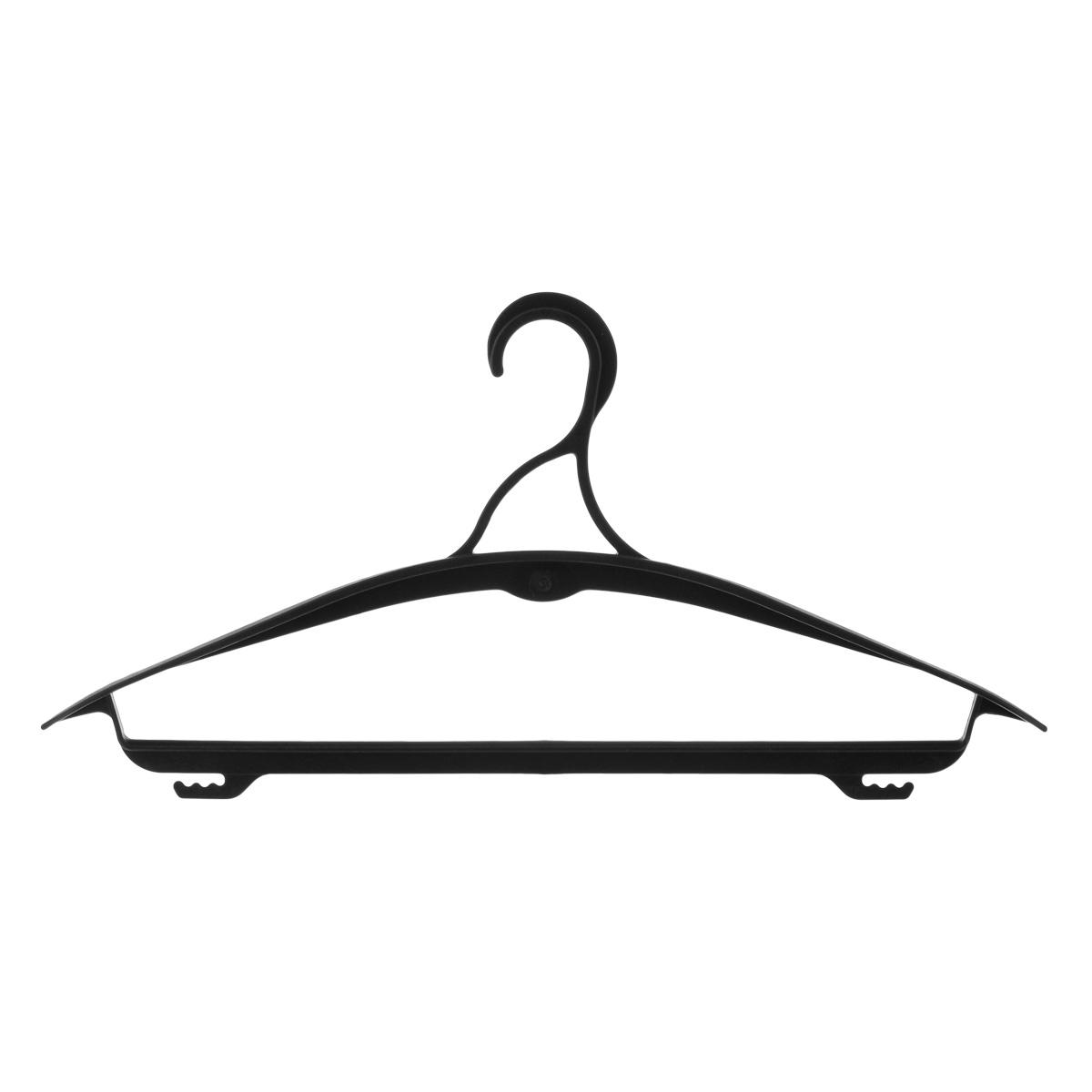 Вешалка для одежды Полимербыт, цвет: черный, размер 48-50. С436С436Вешалка для одежды Полимербыт выполнена из прочного пластика. Изделие оснащено перекладиной и боковыми крючками. Вешалка - это незаменимая вещь для того, чтобы ваша одежда всегда оставалась в хорошем состоянии. Размер элемента: 42,5 см х 21 см х 3,5 см. Размер одежды: 48-50.