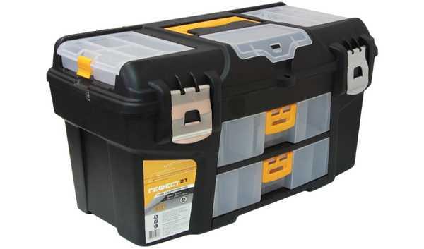 Ящик для инструментов ГЕФЕСТ 21 металл замки (с двумя консол). М 2945М 2945Ящик для инструментов ГЕФЕСТ 21 металл замки (с двумя консол)